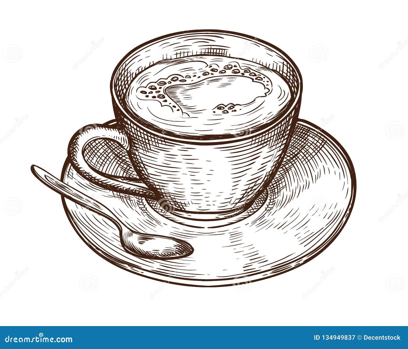 Кружка чашки руки вычерченная горячих кофе напитка, чая etc