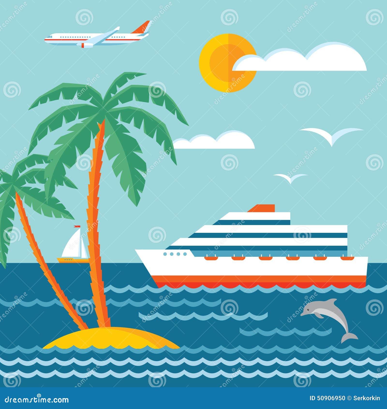 Круиз перемещения - vector иллюстрация концепции в плоском дизайне стиля Вкладыш круиза