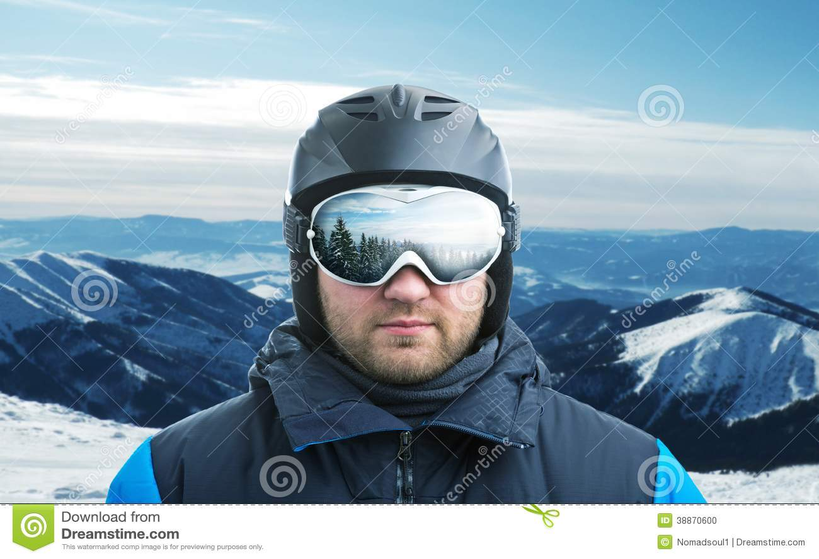 крупный план Гор-лыжника