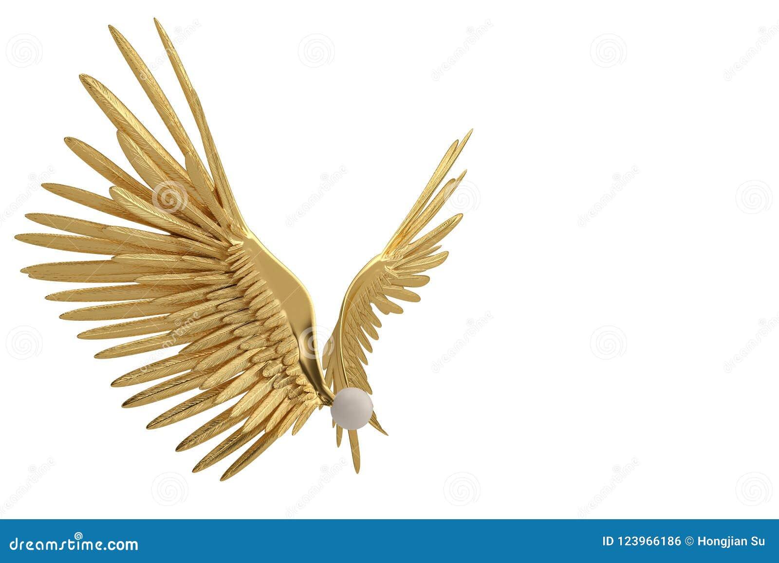Крыла золота на белой предпосылке иллюстрация 3d