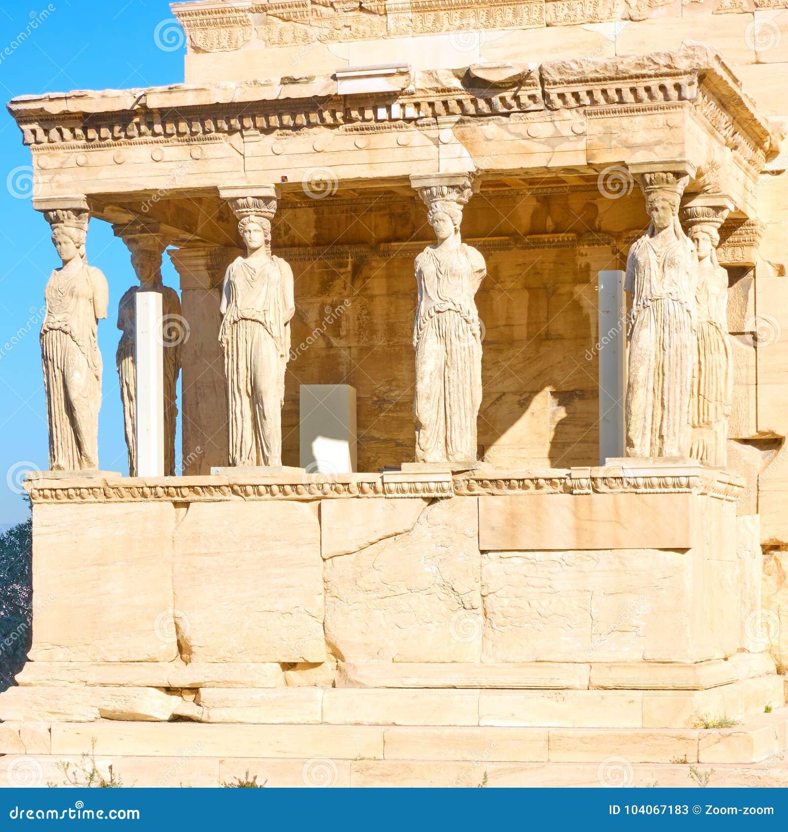 крылечко Греции caryatids atheens акрополя