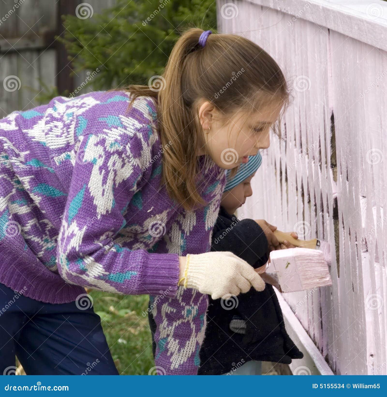 крылечко дома краски детей сельское
