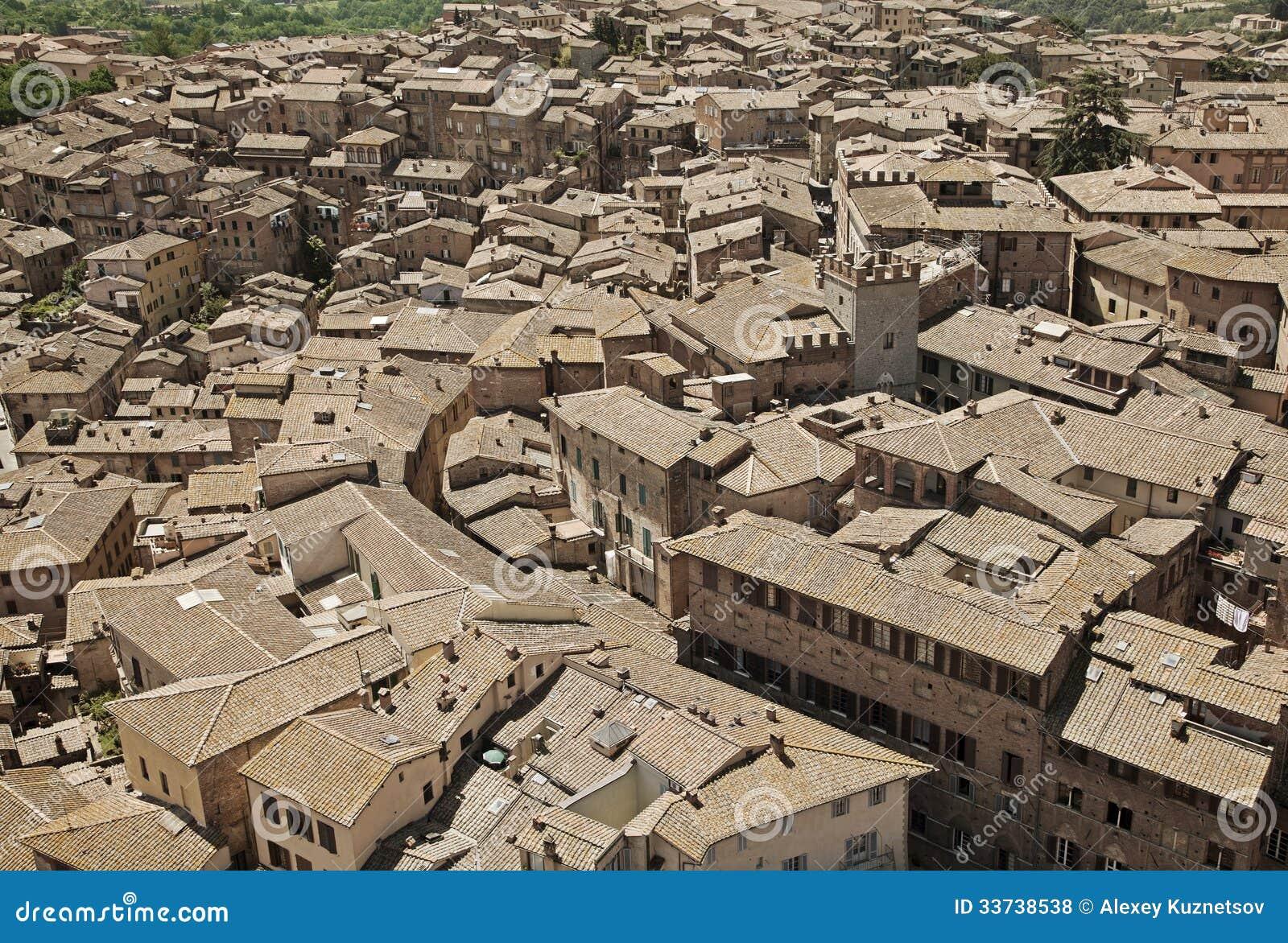 Крыши Сиены, Италии