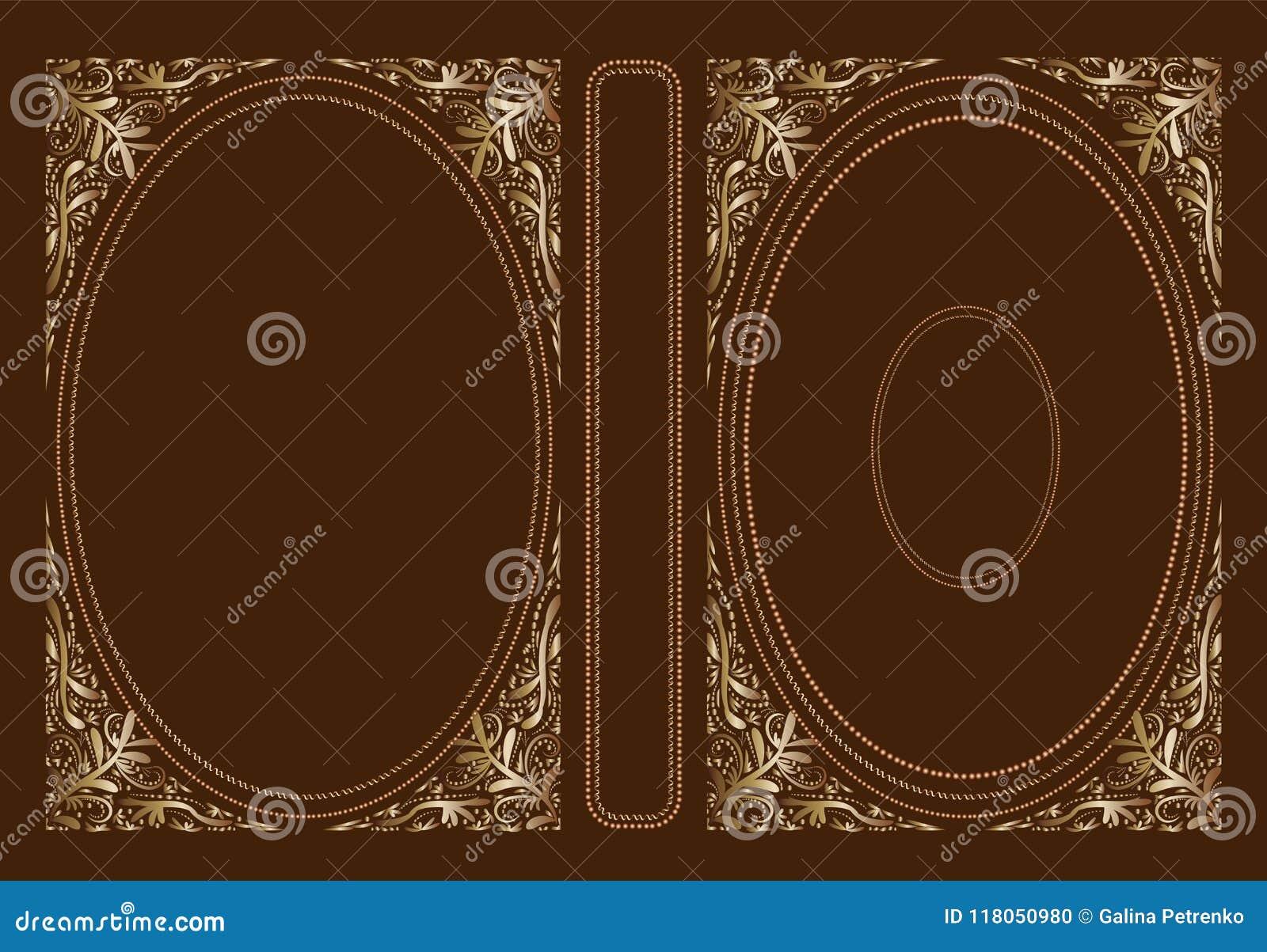 Крышка вектора классическая для книги Декоративные винтажные крышка или рамка для книг и ученических книг Оно нарисовано стандарт