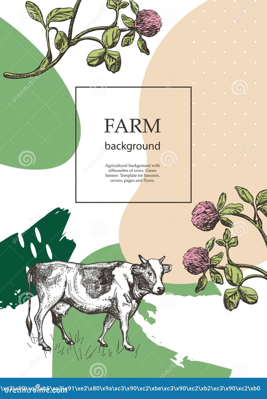 Крышка образца для аграрной брошюры Цветки коровы и луга Шаблон для молочной фермы Предпосылка для летчиков, знамен