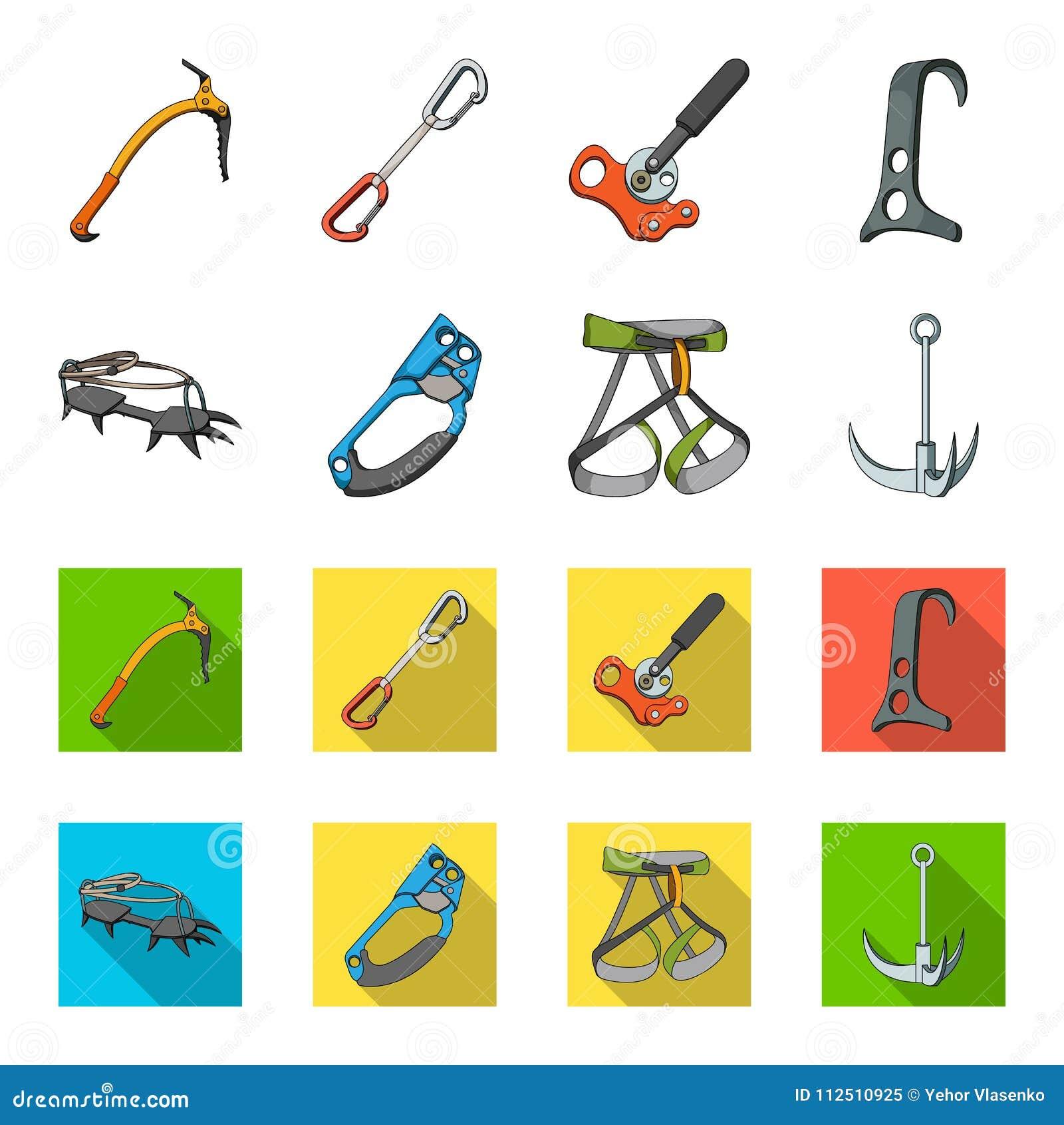Крюк, проводка альпиниста, страхование и другое оборудование Значки собрания альпинизма установленные в шарже, плоском стиле