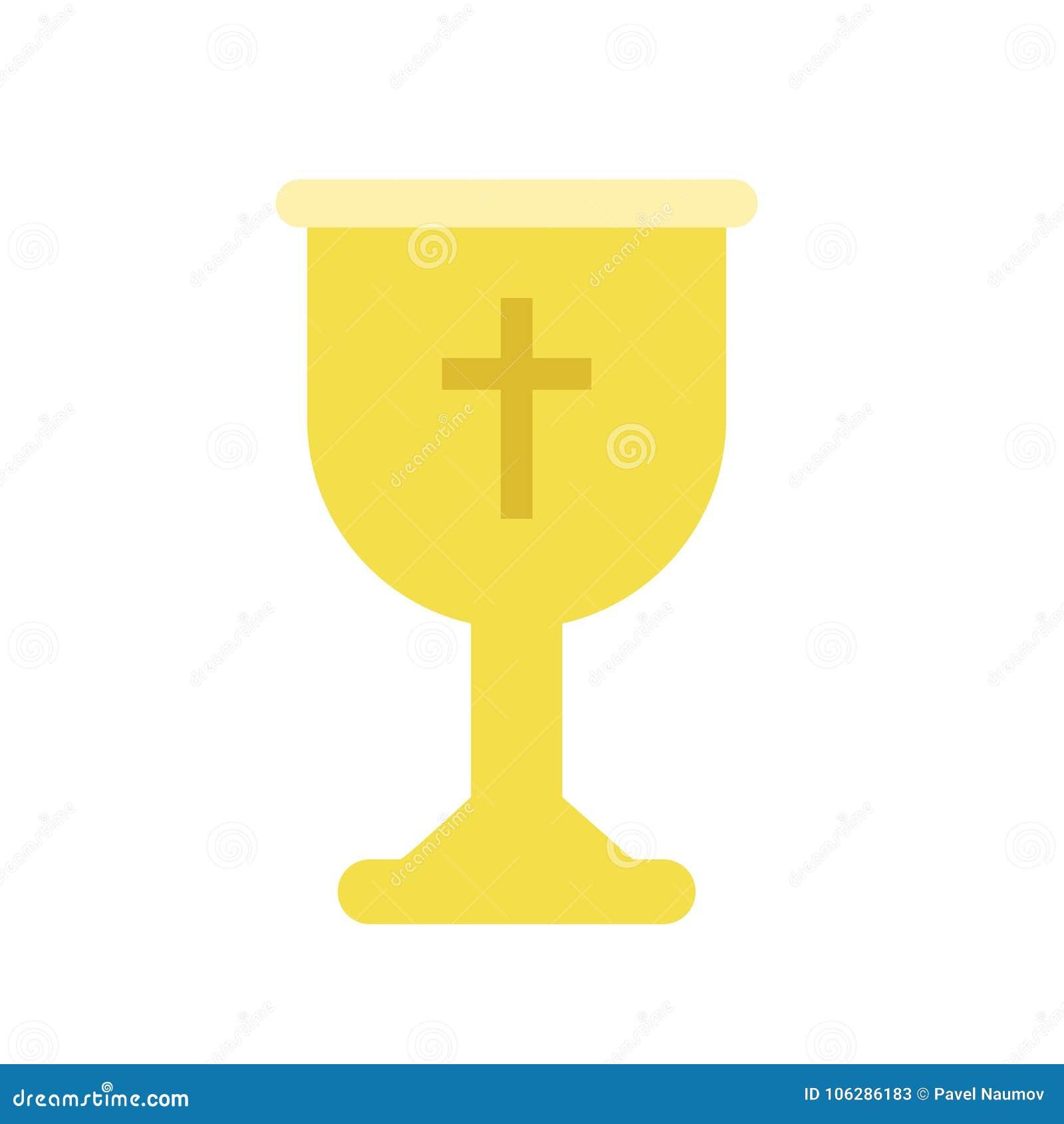 Кубок золотой чашки или кубка для христианского поклонения Литургический сосуд для сакраментального вина или святого причастия из