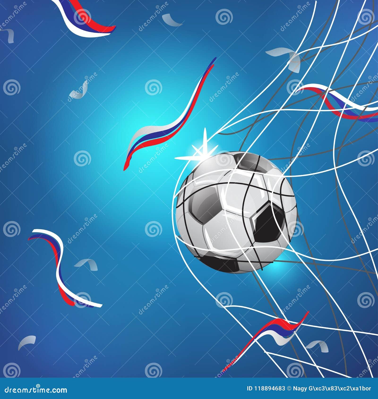 КУБОК МИРА РОССИЯ 2018 Спичка игры футбола Момент цели сеть шарика ИЛЛЮСТРАЦИЯ ШАБЛОНА НА ГОЛУБОЙ ПРЕДПОСЫЛКЕ