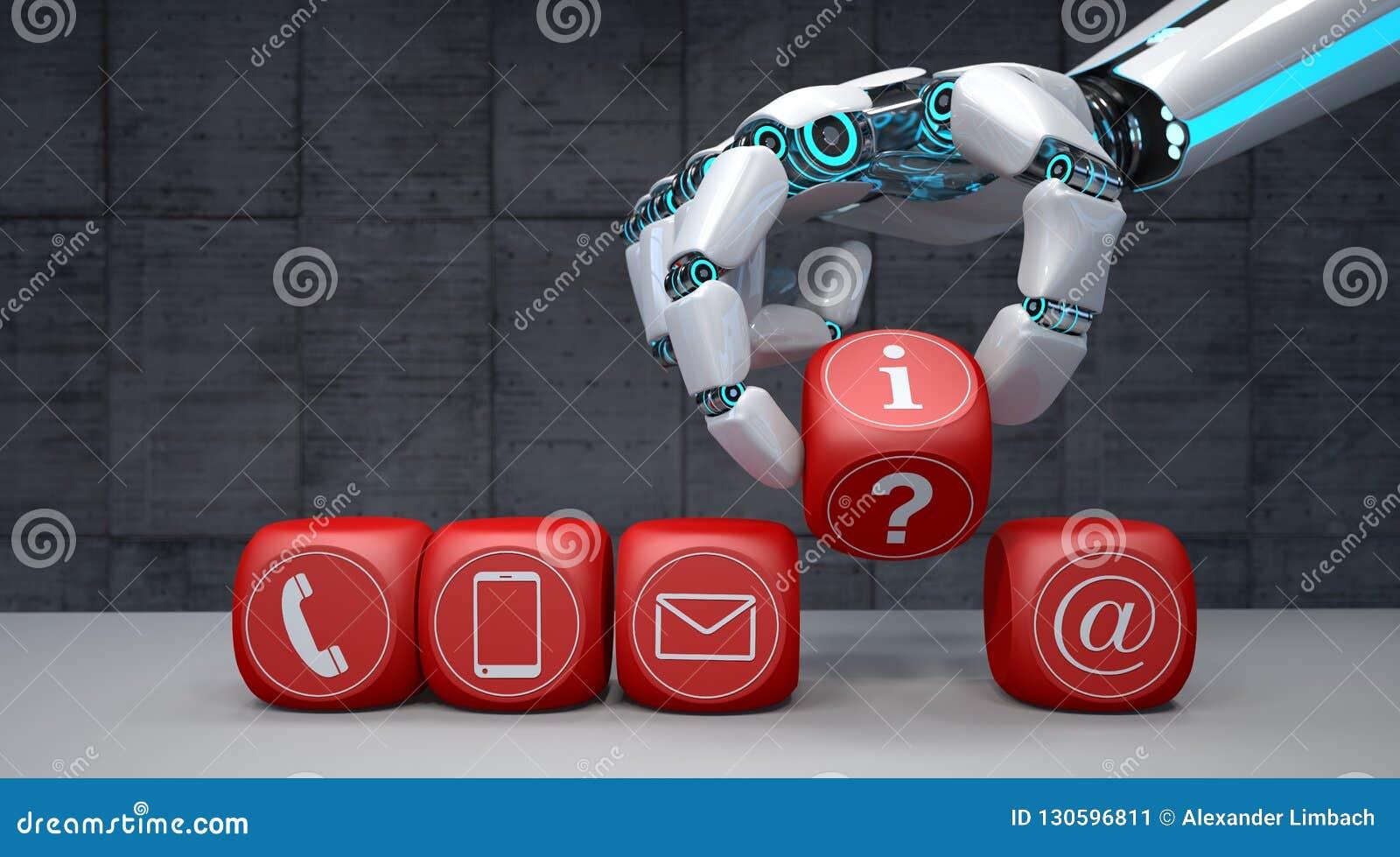 Кубы руки робота контактируют значки