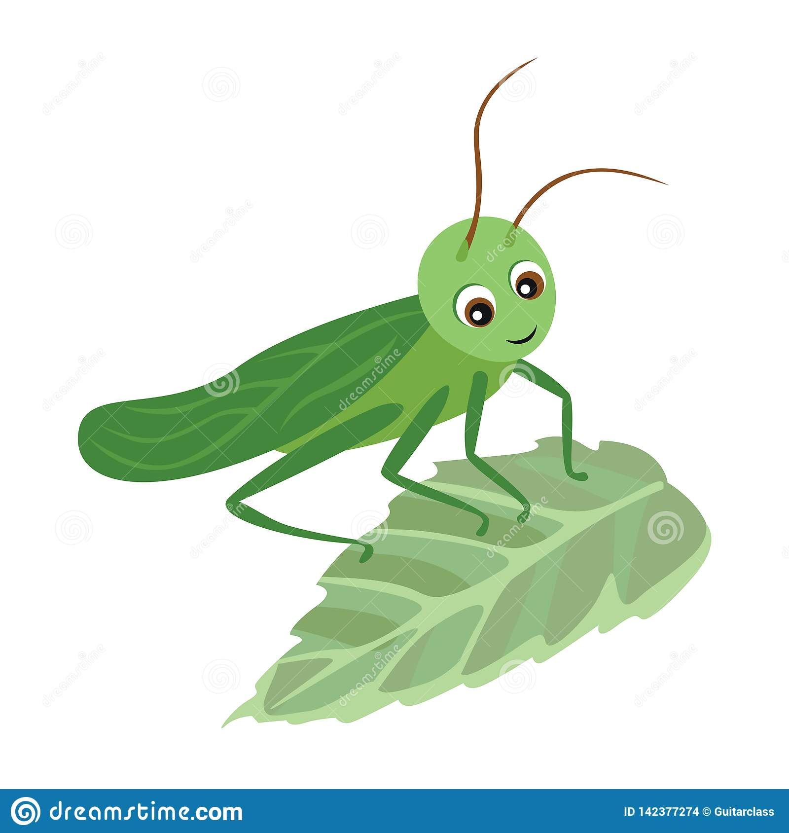 Кузнечик мультфильма на зеленых лист