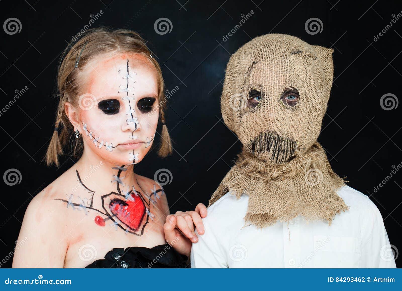 Кукла и Jackstraw хеллоуина мертвые Мальчик и девушка с здравствуйте!