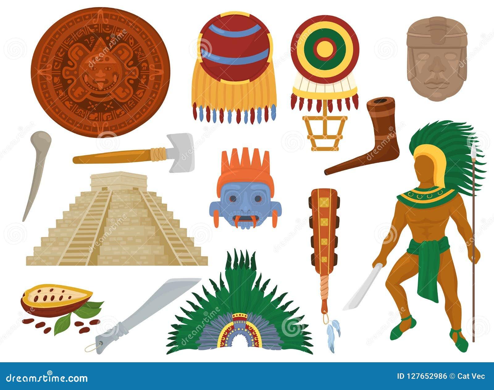 Культура ацтекского вектора мексиканская старая в Мексике и характере человека Майя майяского комплекта иллюстрации цивилизации