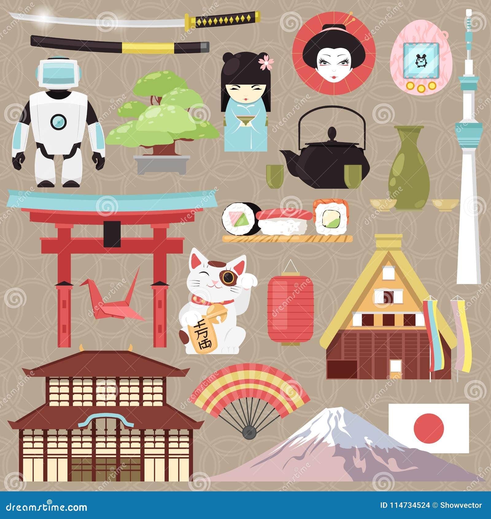 Культура вектора Японии японские и архитектура или восточные суши кухни в комплекте иллюстрации токио Japanization