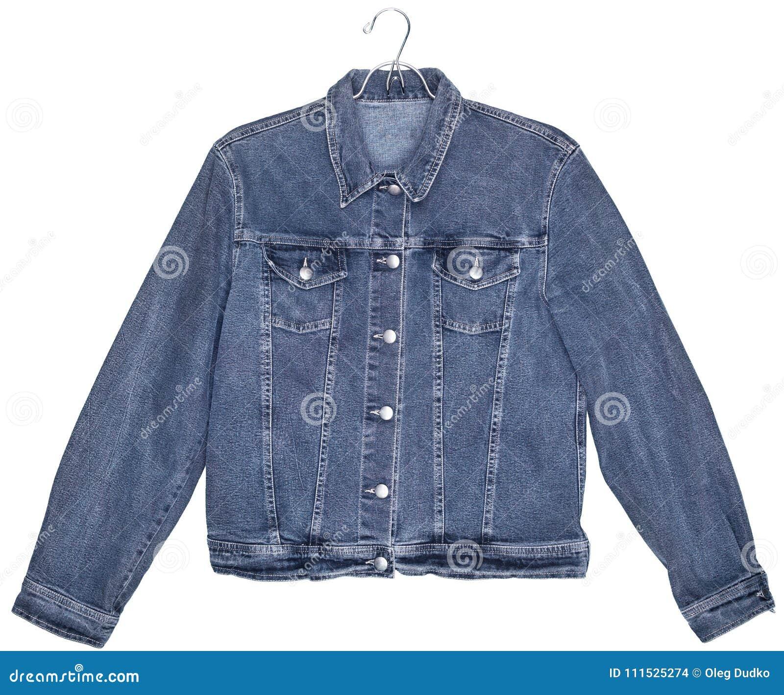 Куртка джинсов джинсовой ткани изолированная на белизне