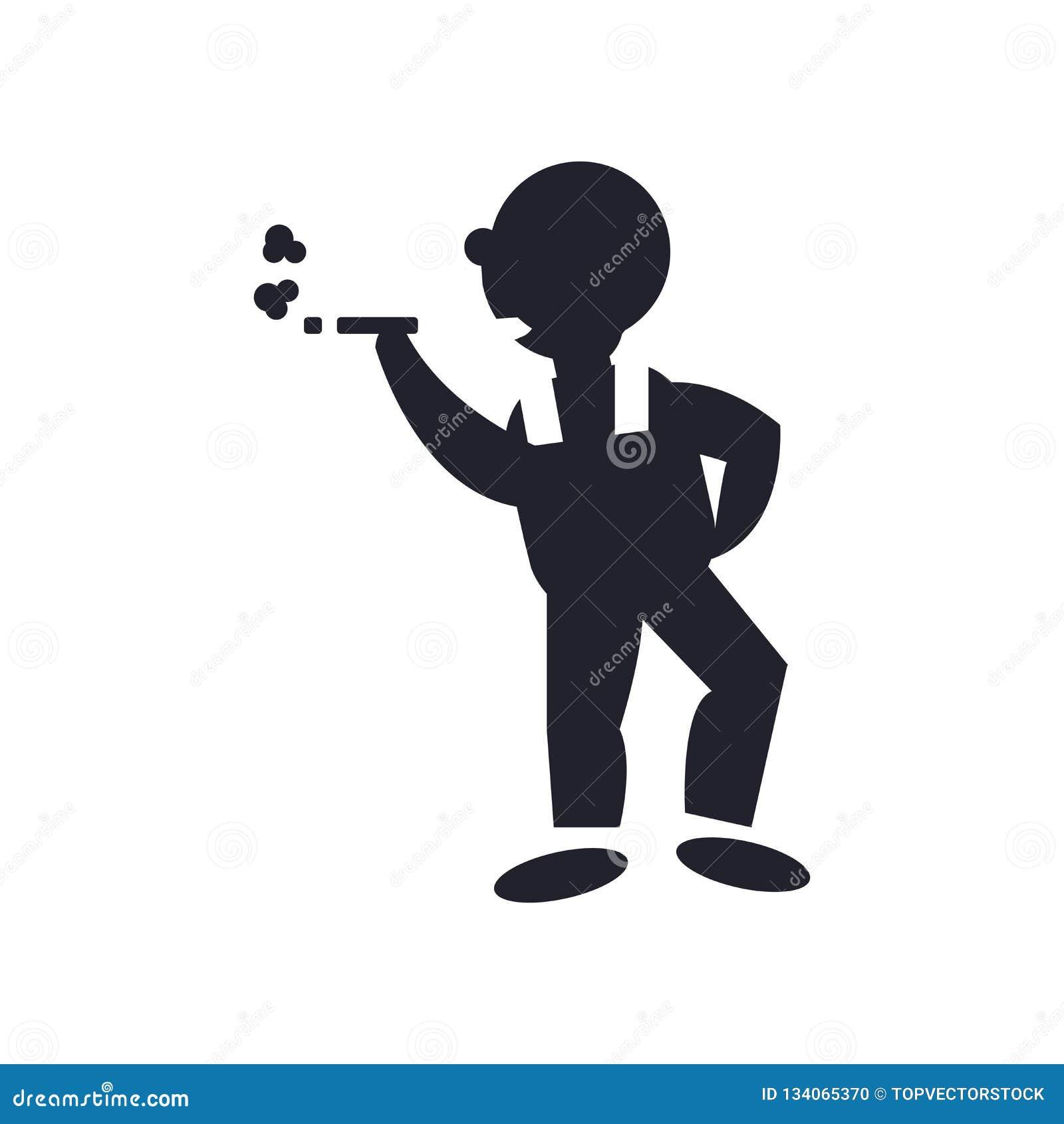 Куря знак и символ вектора значка человека изолированные на белой предпосылке, куря концепции логотипа человека