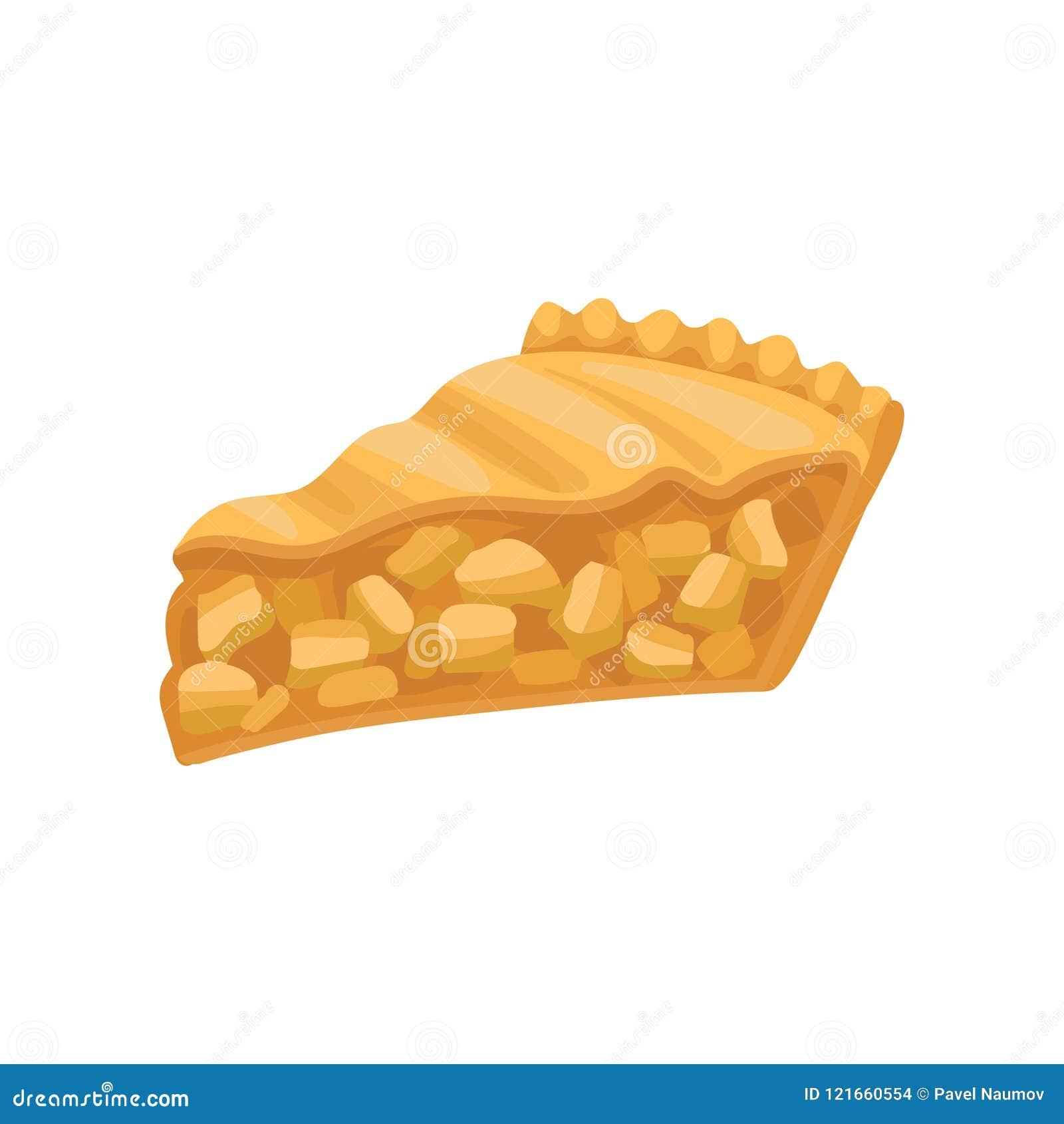 Кусок очень вкусного пирога charlotte Свеже испеченный торт яблока Вкусный продукт хлебопекарни Плоский вектор для меню кафа или