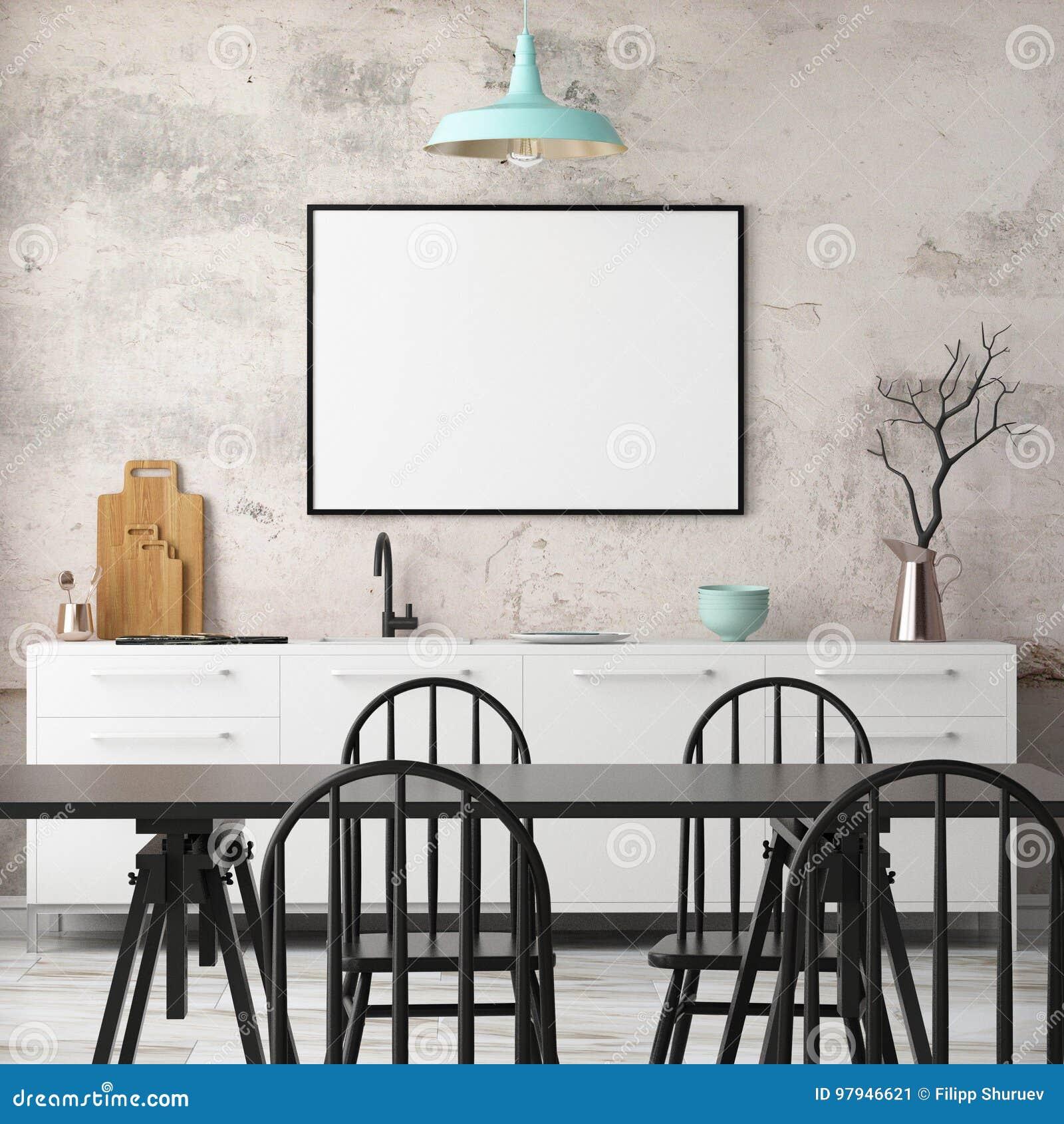 Кухня модель-макета внутренняя в стиле просторной квартиры перевод 3d иллюстрация 3d