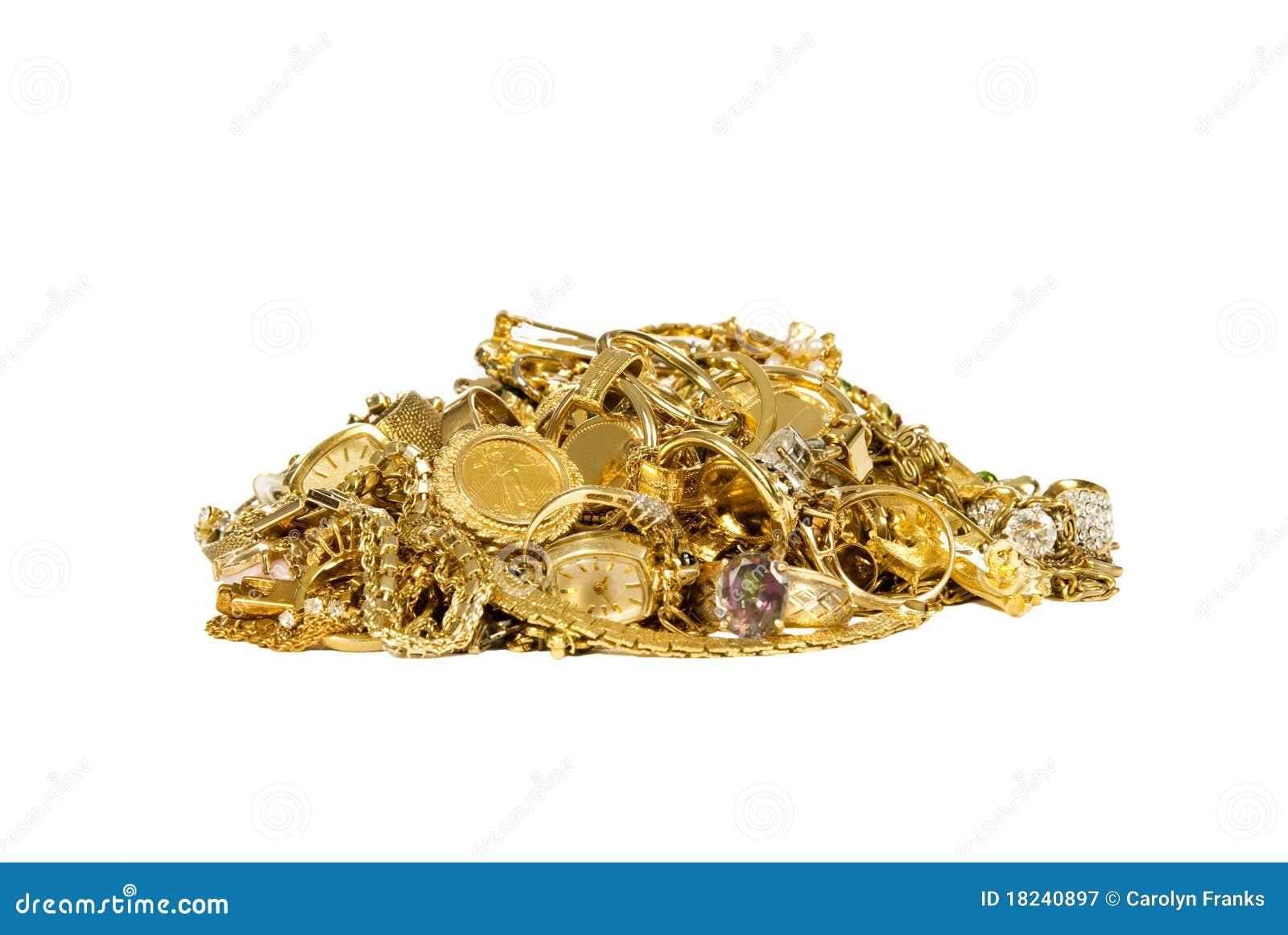 Куча ювелирных изделий золота
