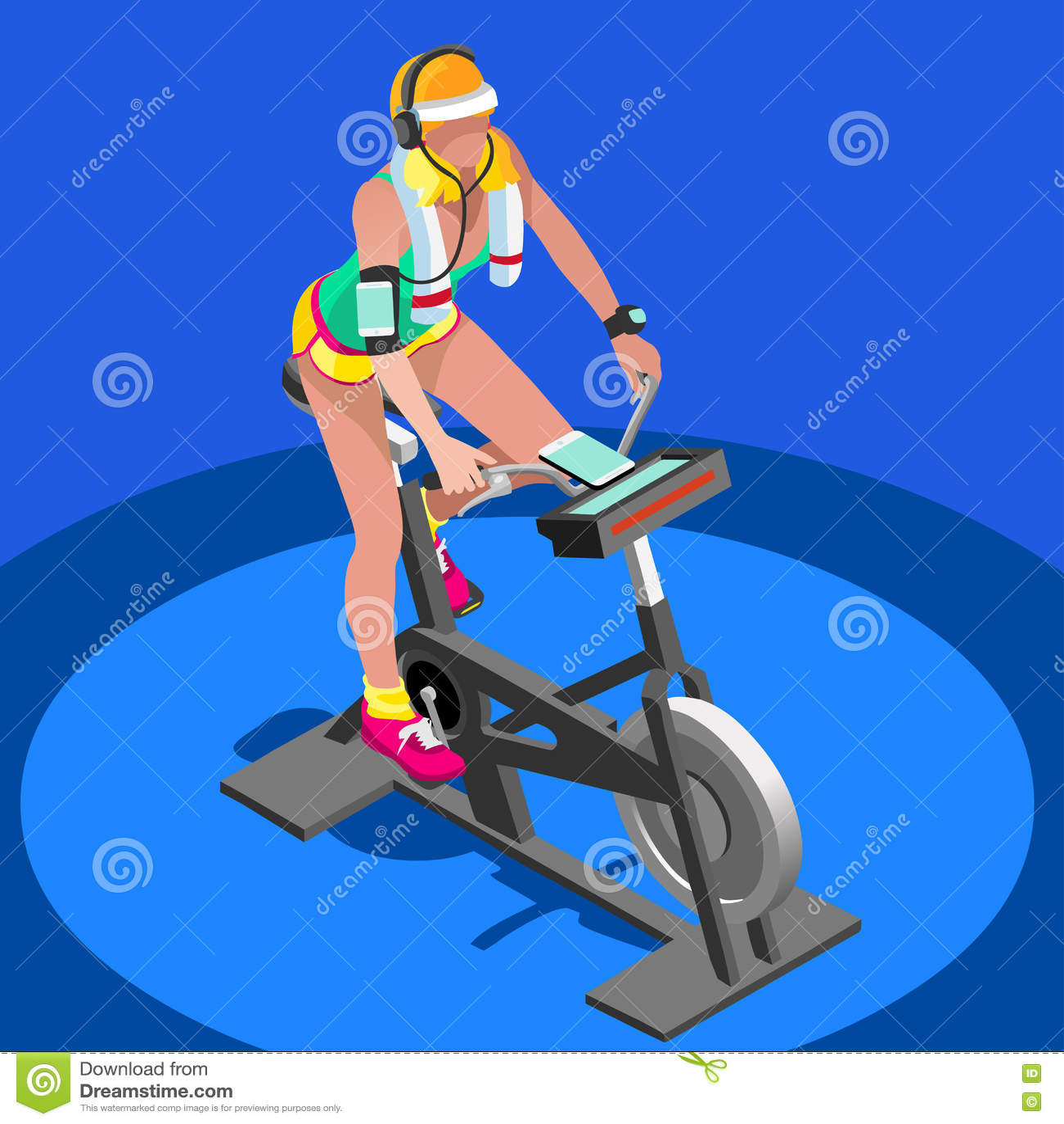 Класс фитнеса велотренажера закручивая плоско равновеликий закручивая велосипед фитнеса 3D