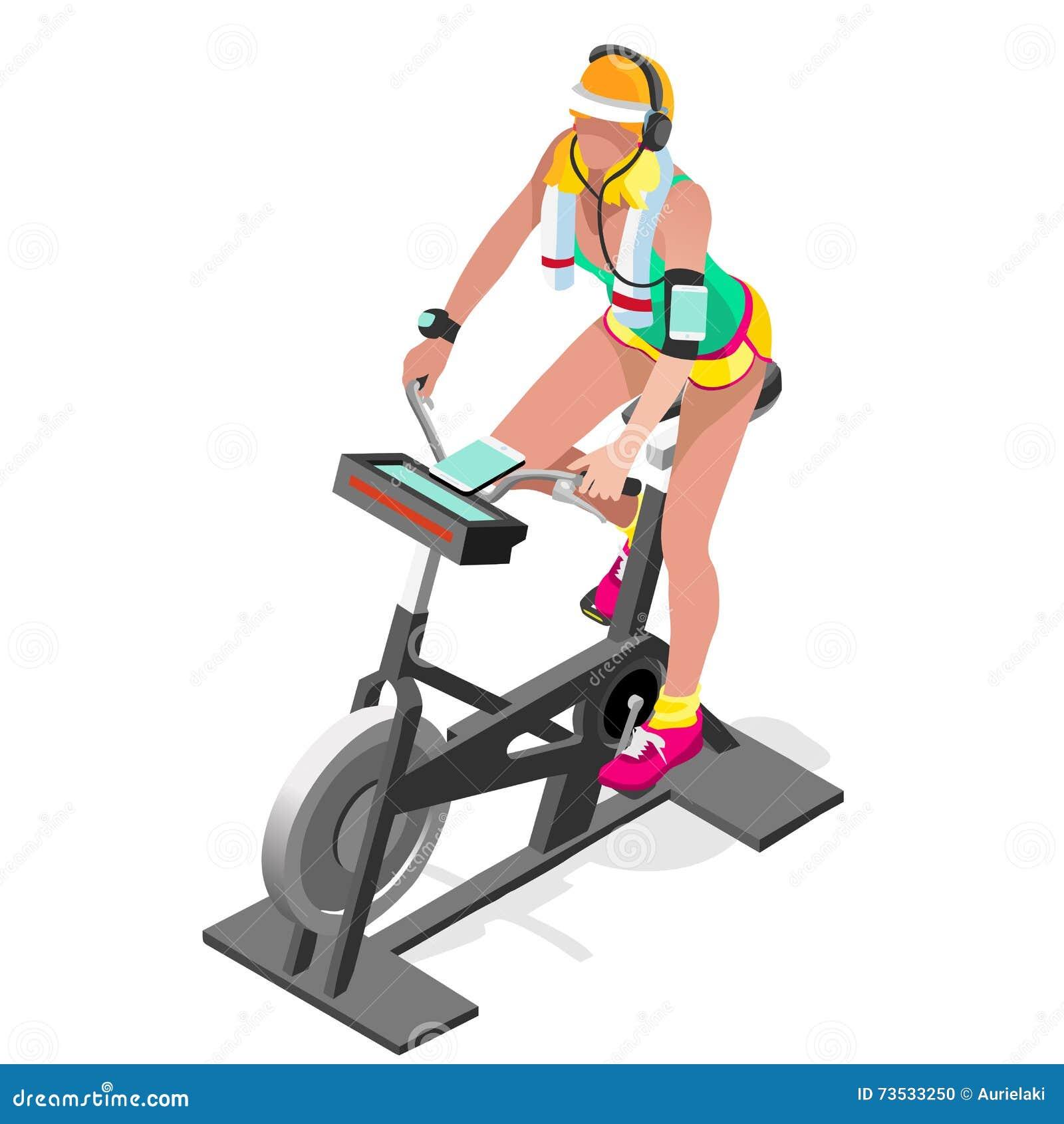 Класс фитнеса велотренажера закручивая плоско равновеликий закручивая велосипед фитнеса 3D Класс спортзала разрабатывая задейству