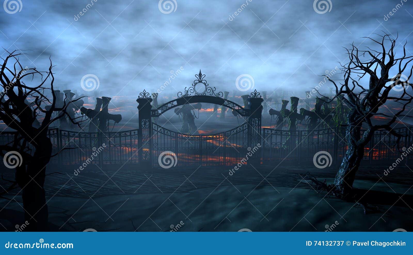 Кладбище ночи ужаса, могила лунный свет удерживания halloween даты принципиальной схемы календара жнец мрачного счастливого миниа