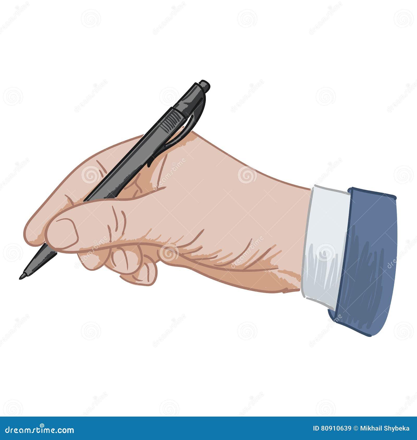 Кладет его ручку подписи