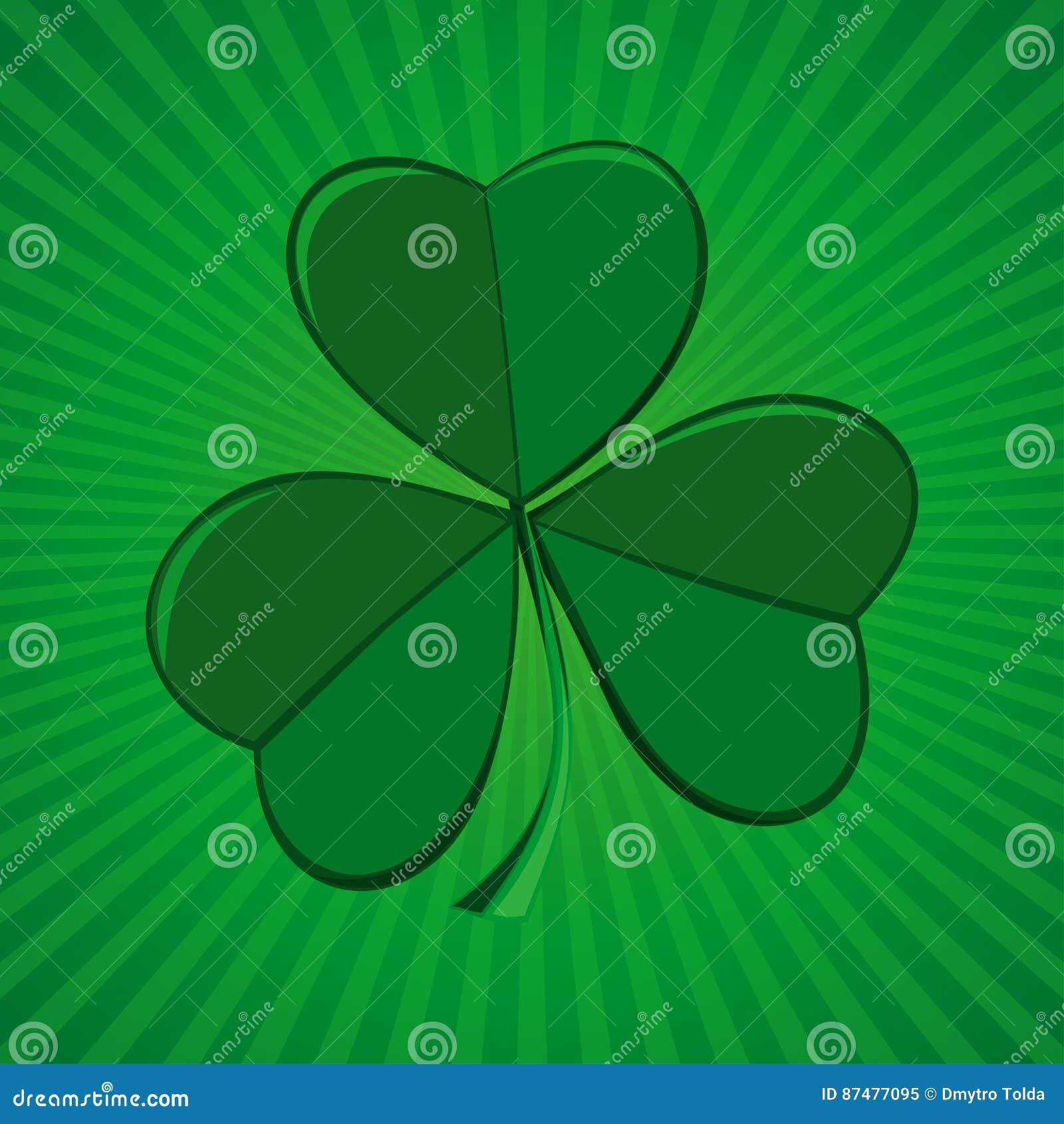 Клевер на зеленой ретро предпосылке Shamrock, trifoliate клевер - символ Ирландии