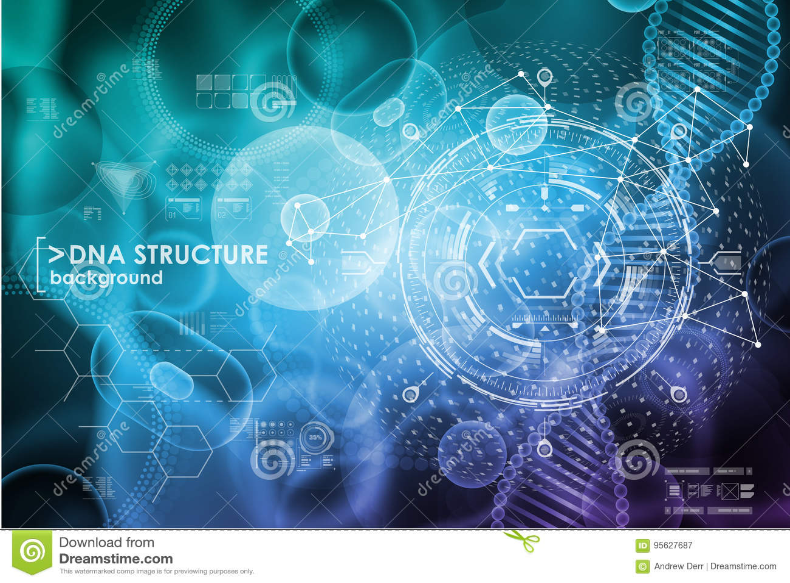 Клетка и предпосылка дна с элементами интерфейса HUD UI для медицинского app Молекулярное исследование