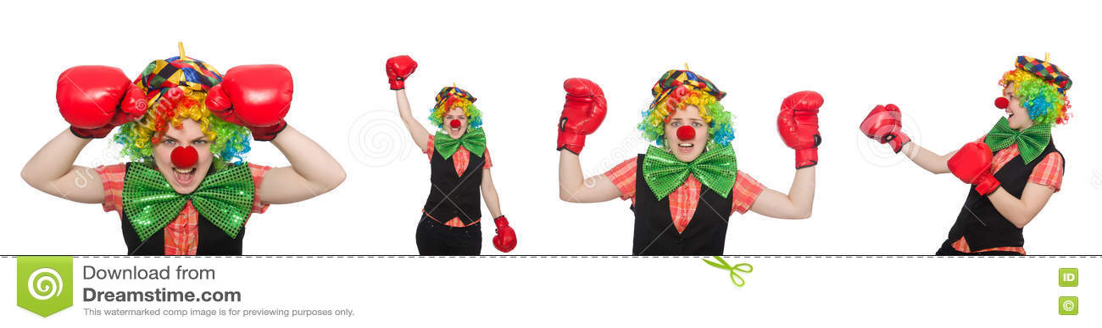 Клоун в различных представлениях изолированный на белизне