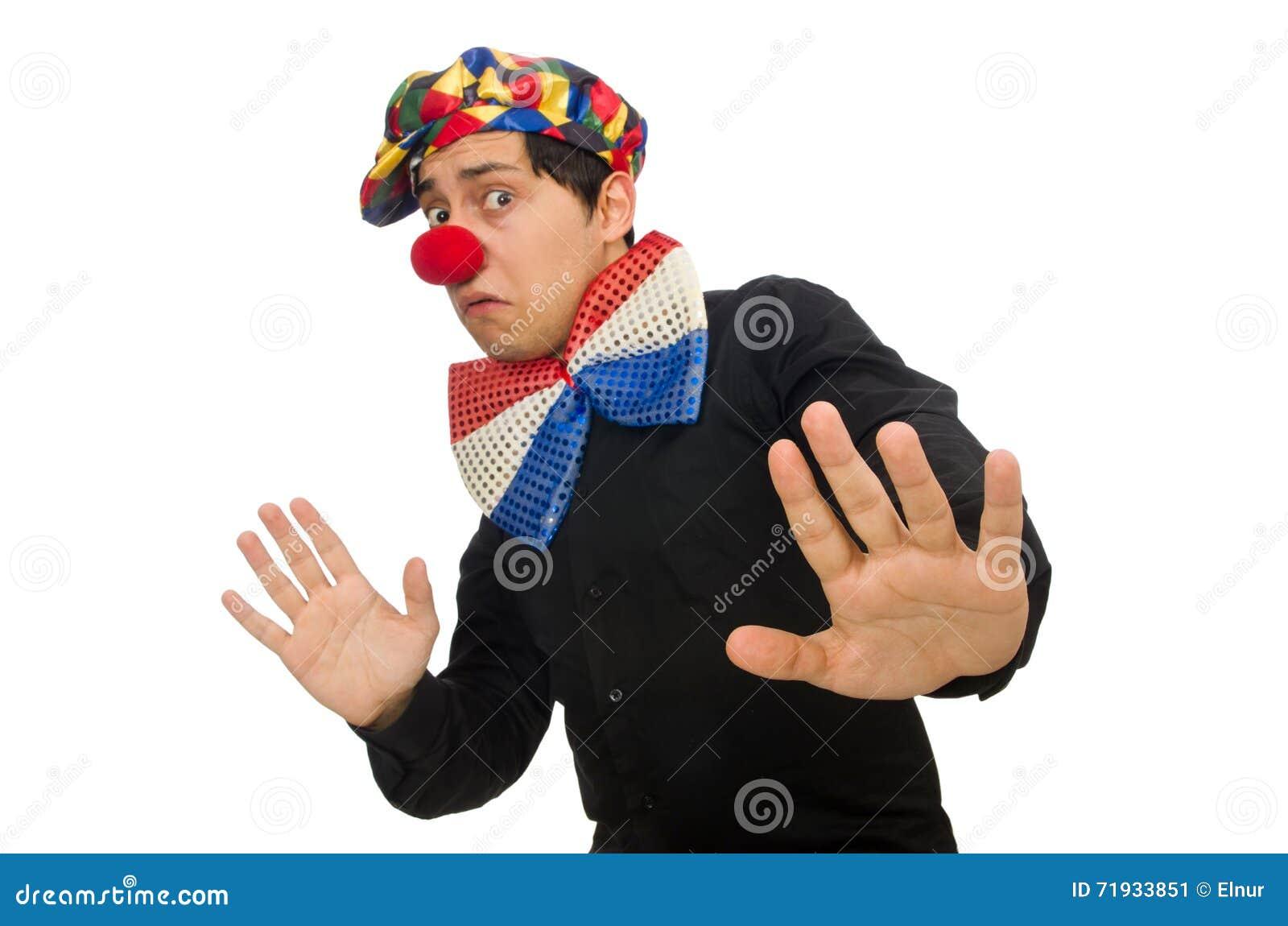Клоун изолированный на белой предпосылке