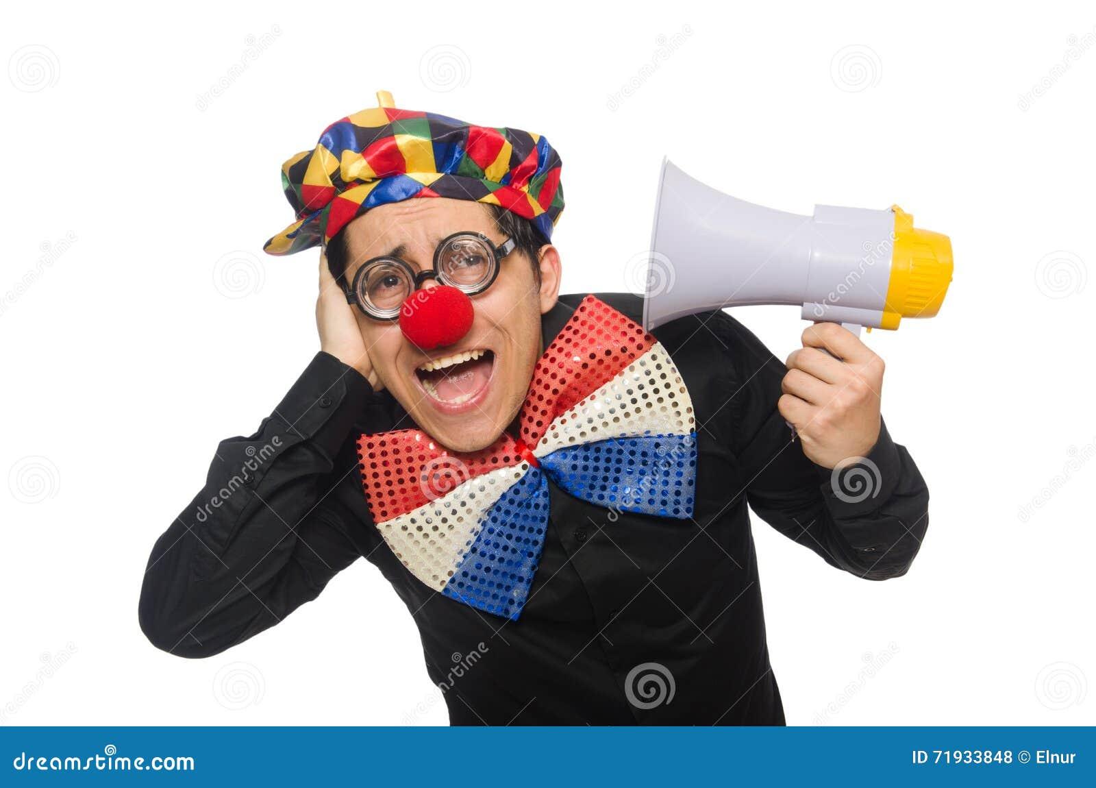 Клоун при громкоговоритель изолированный на белизне