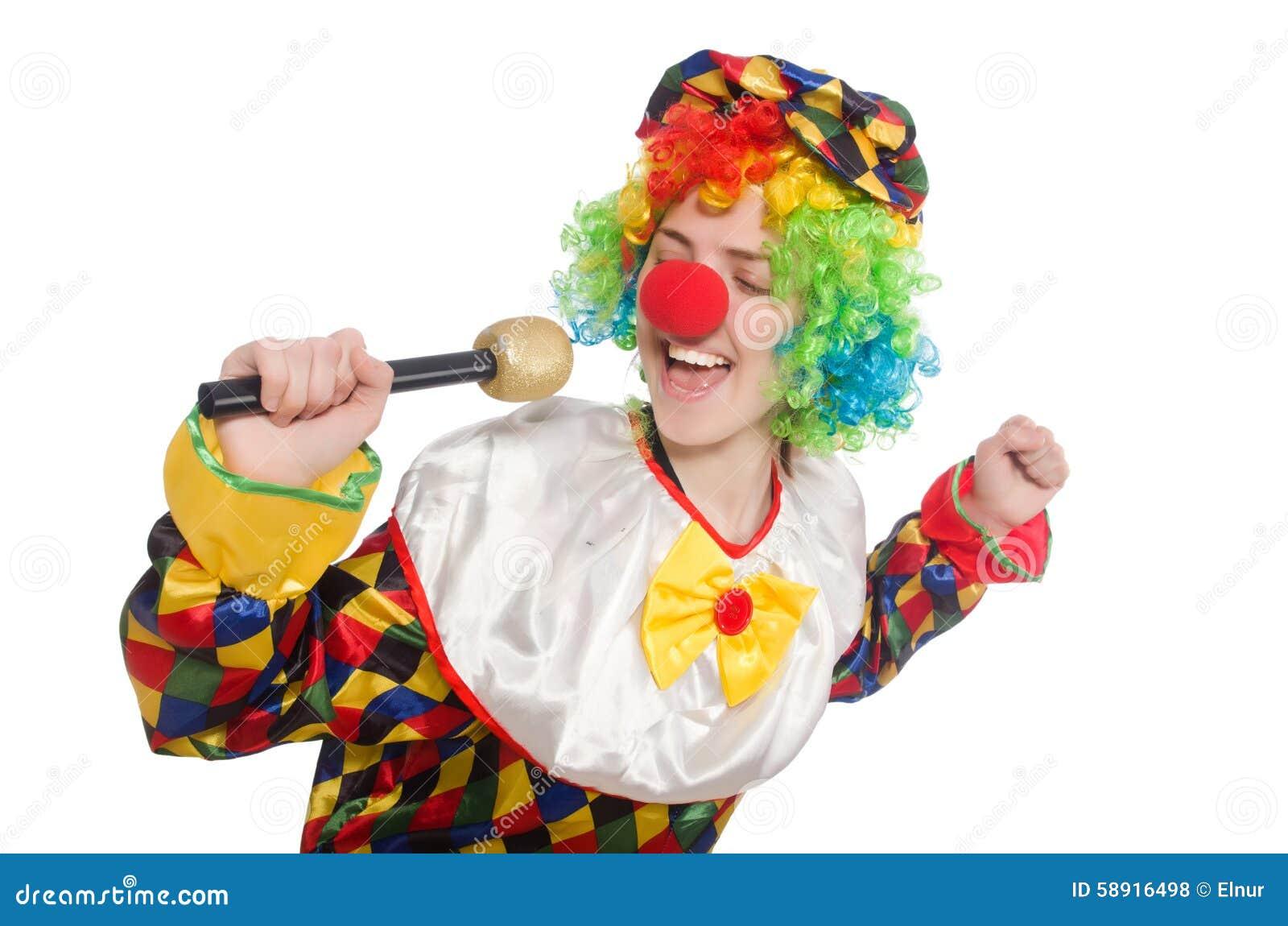 Клоун при mic изолированный на белой предпосылке
