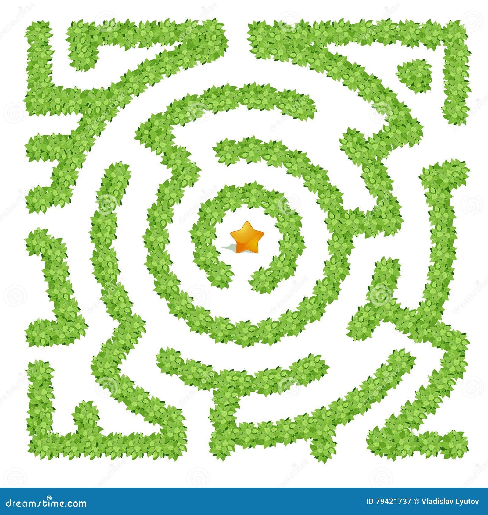 Лабиринт состоя из зеленых кустов на белой предпосылке