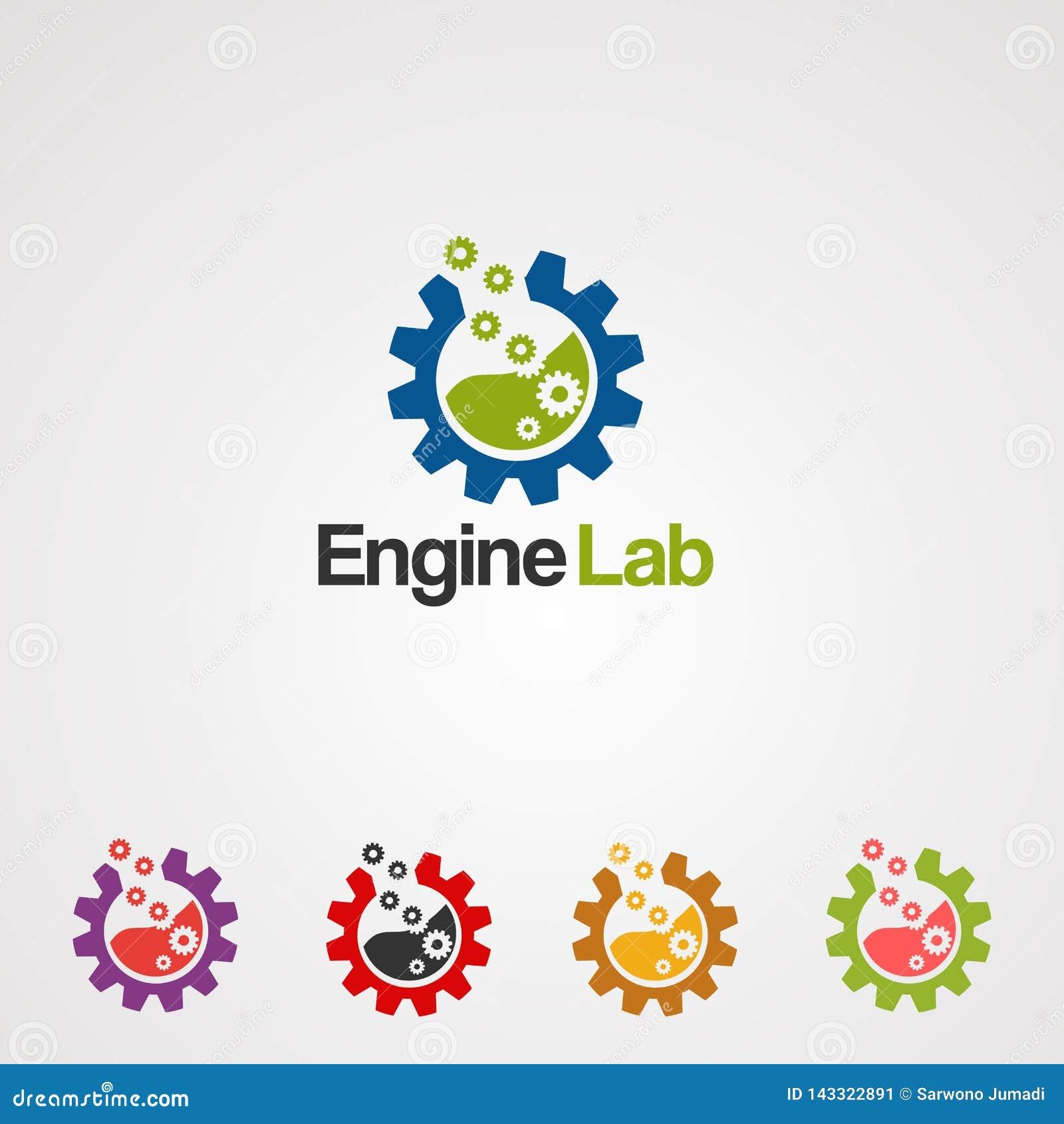 Лаборатория двигателя с вектором, значком, элементом, и шаблоном логотипа современной концепции установленными для дела