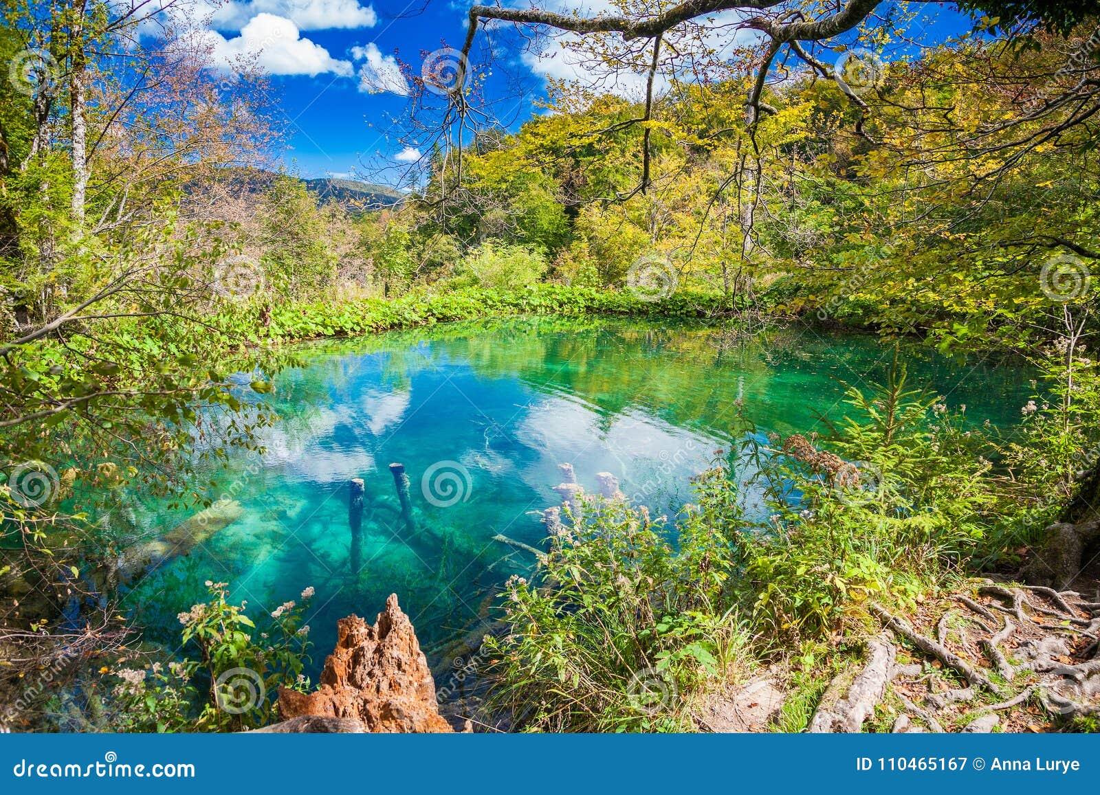 Лазурное озеро в Plitvice