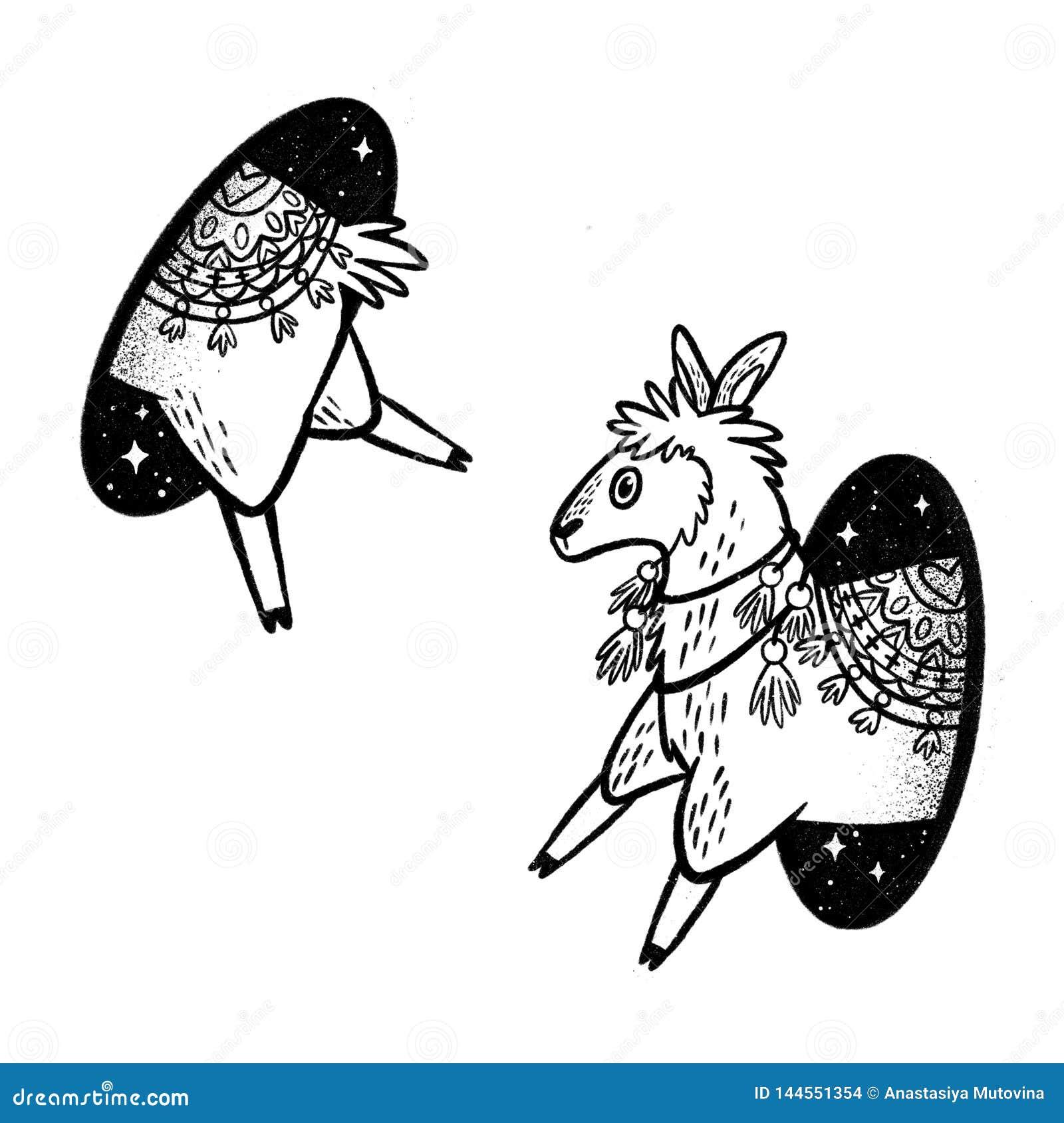 Лама в волшебстве teleport Линейный черно-белый чертеж