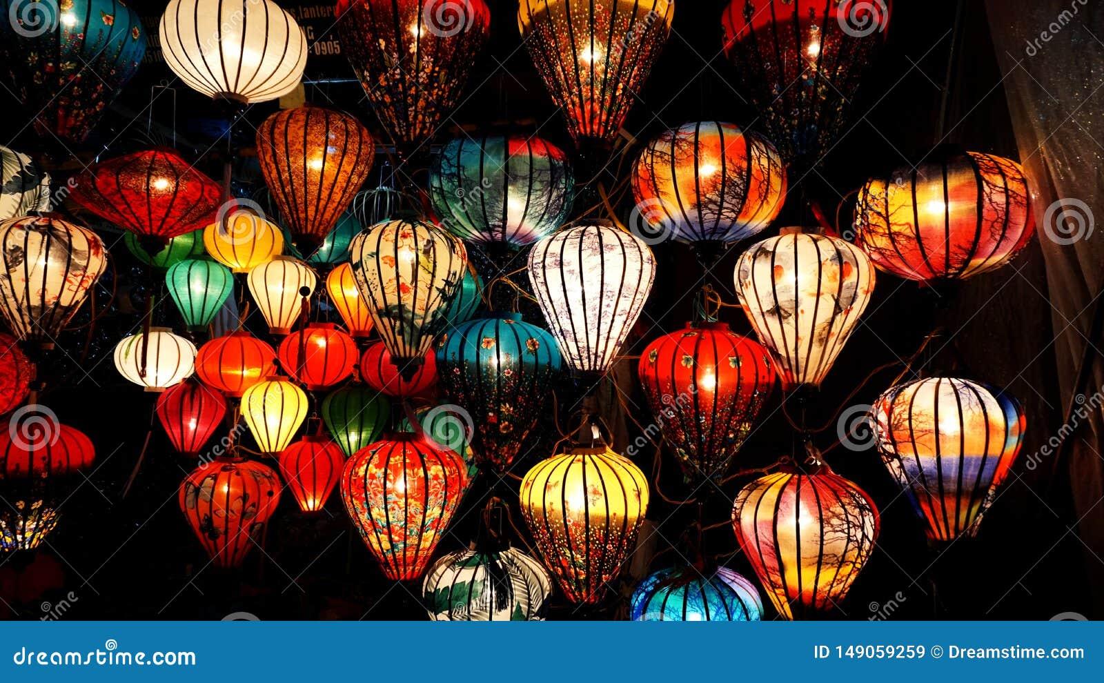Лампа в магазине для продажи на Hoi, Вьетнаме