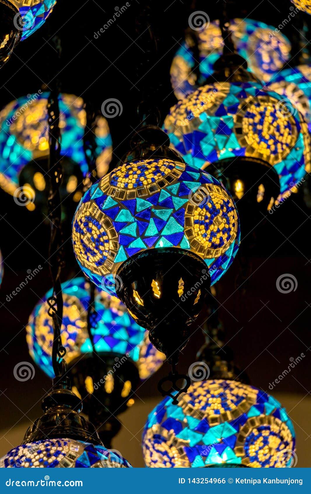 Лампа Стамбула, голубой тон, красочная лампа