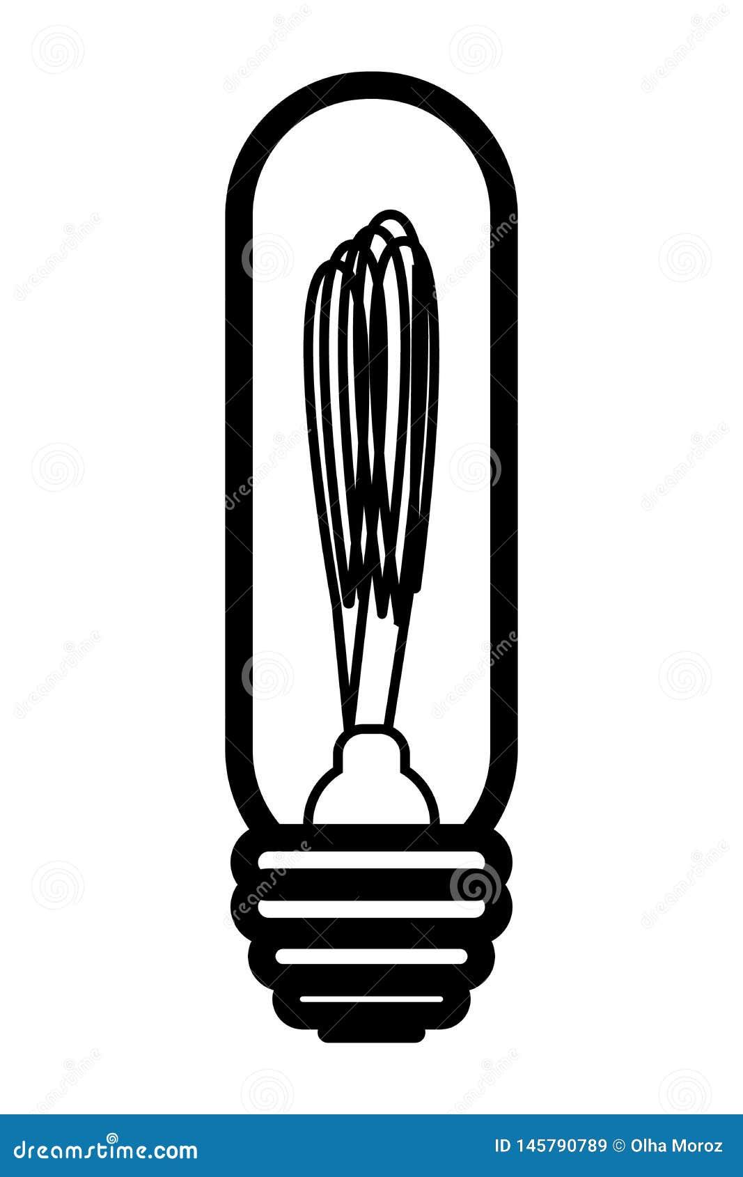 Лампа Edison Иллюстрация вектора в автономном стиле