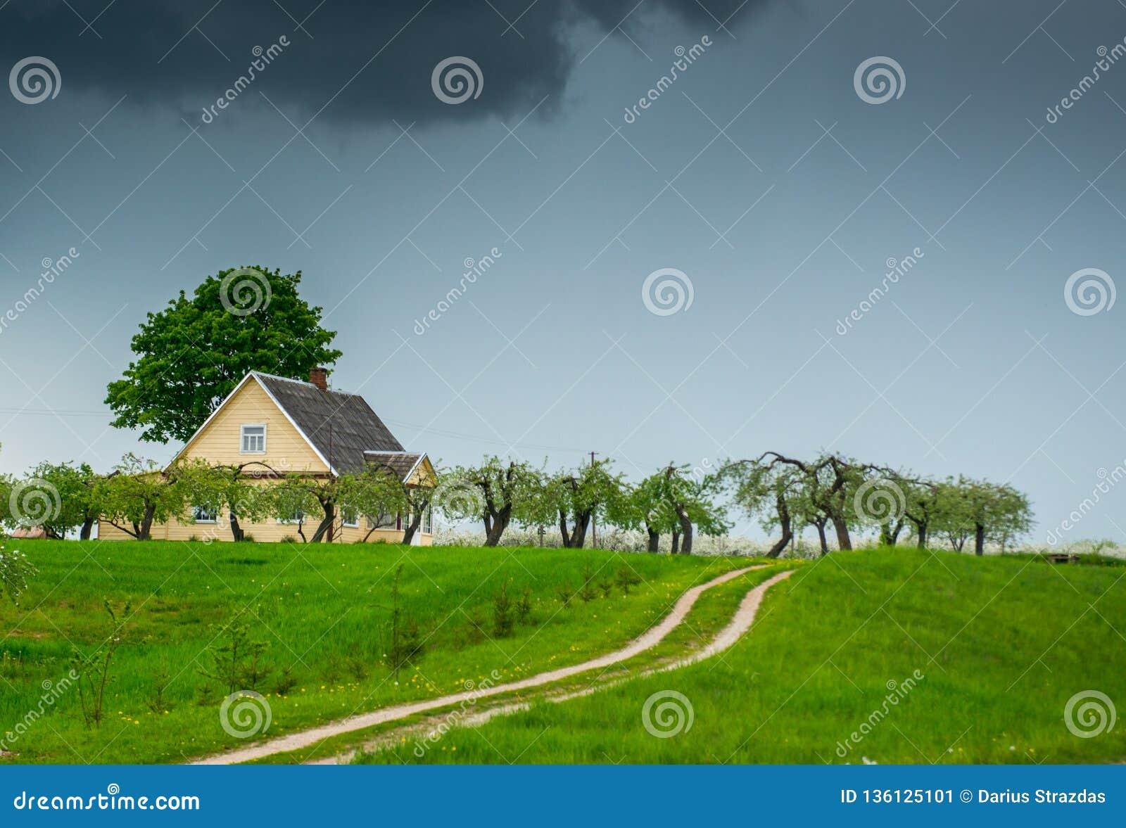 Ландшафт весны дороги около деревянного дома