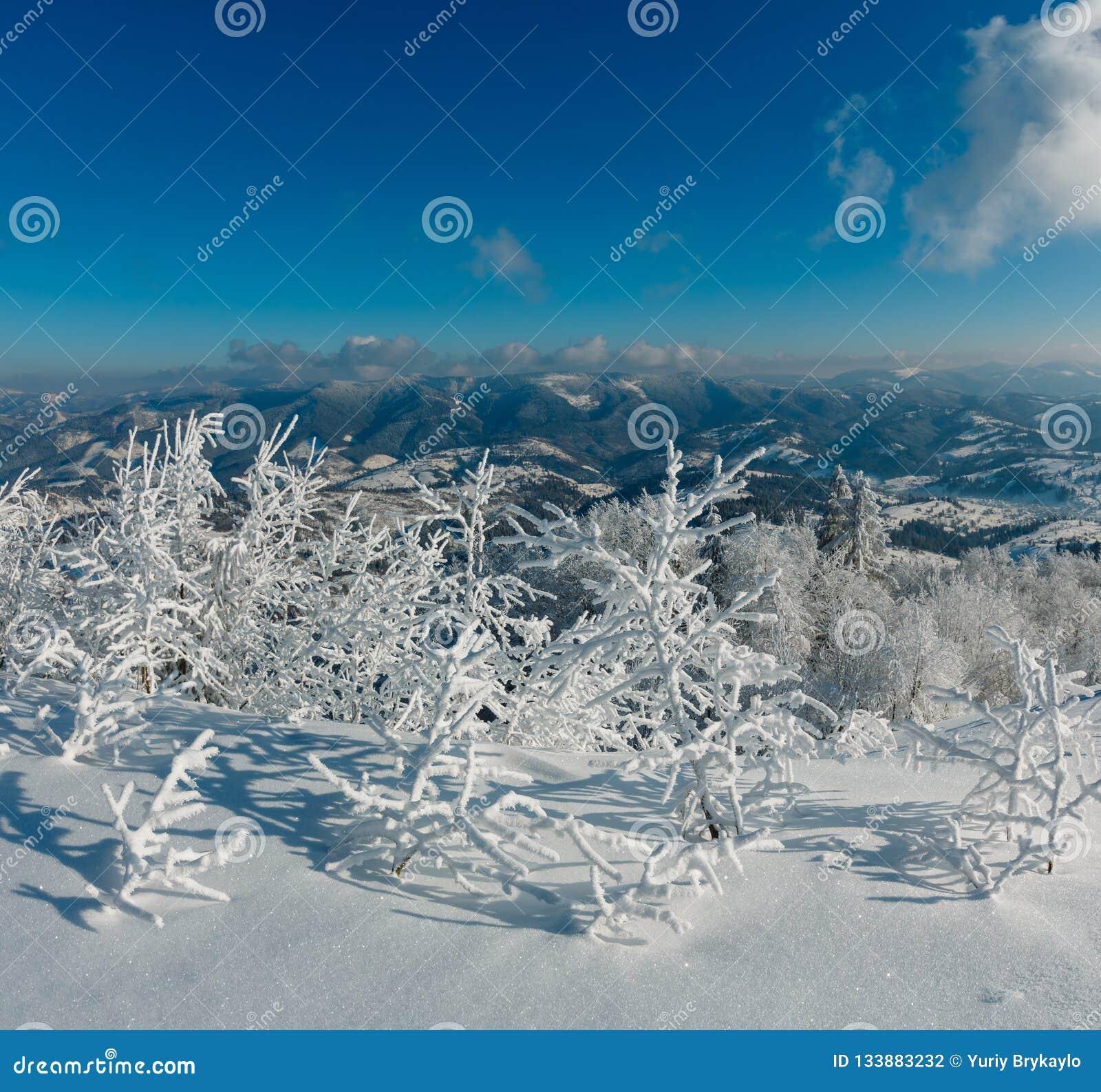 Ландшафт горы зимы снежный