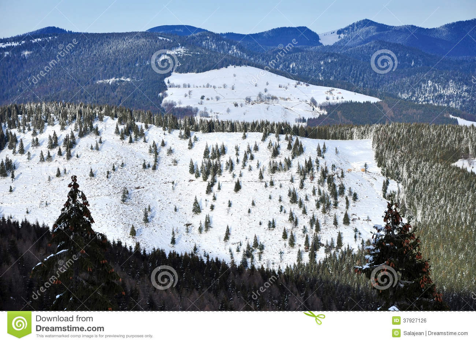 Ландшафт зимы в горах