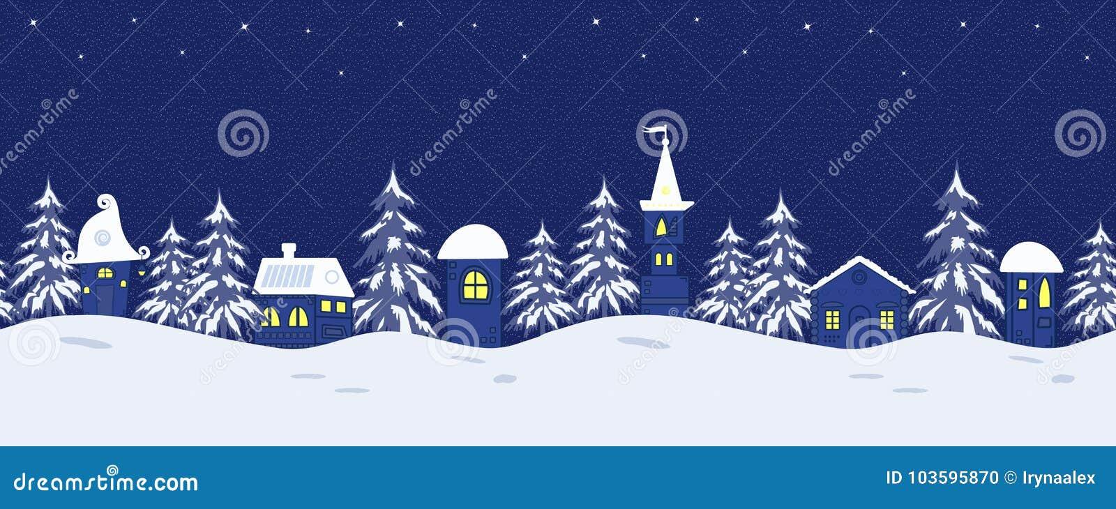 Ландшафт зимы сказки Безшовная граница с фантастическими ложами и елями