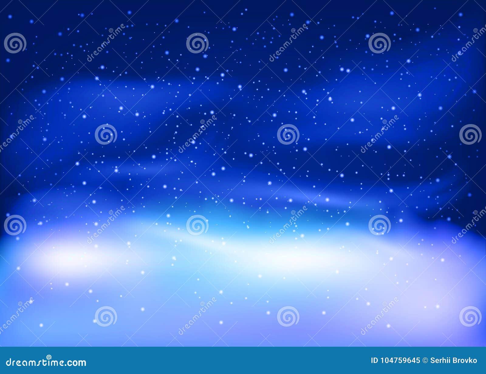 Ландшафт зимы с падая снегом Предпосылка Кристмас и Новый Год также вектор иллюстрации притяжки corel