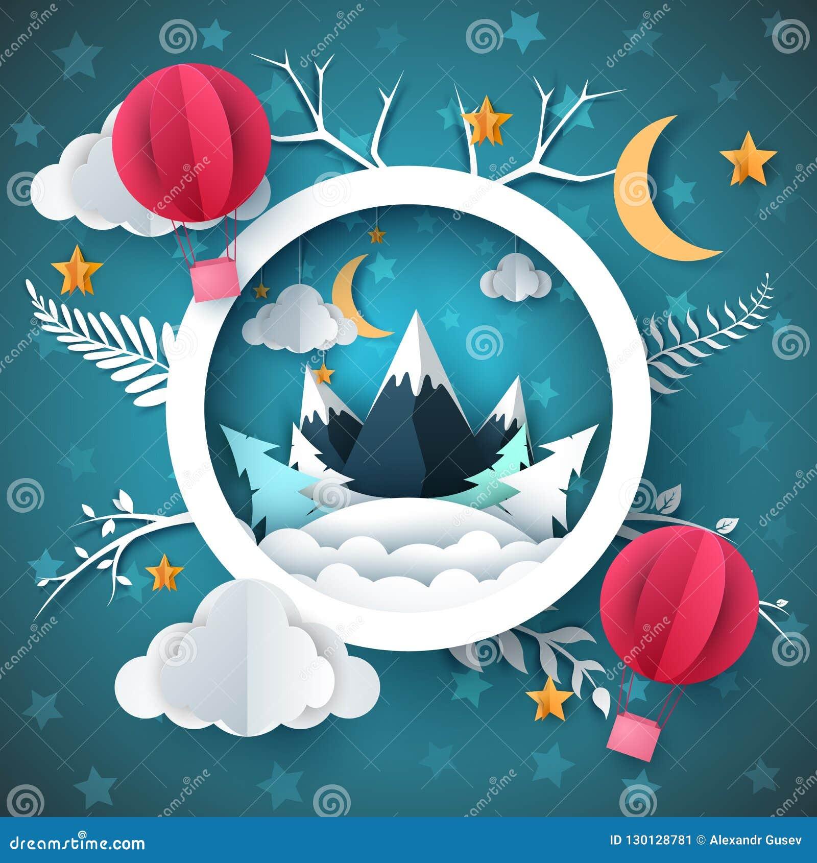 Ландшафт зимы шаржа Гора и воздушный шар