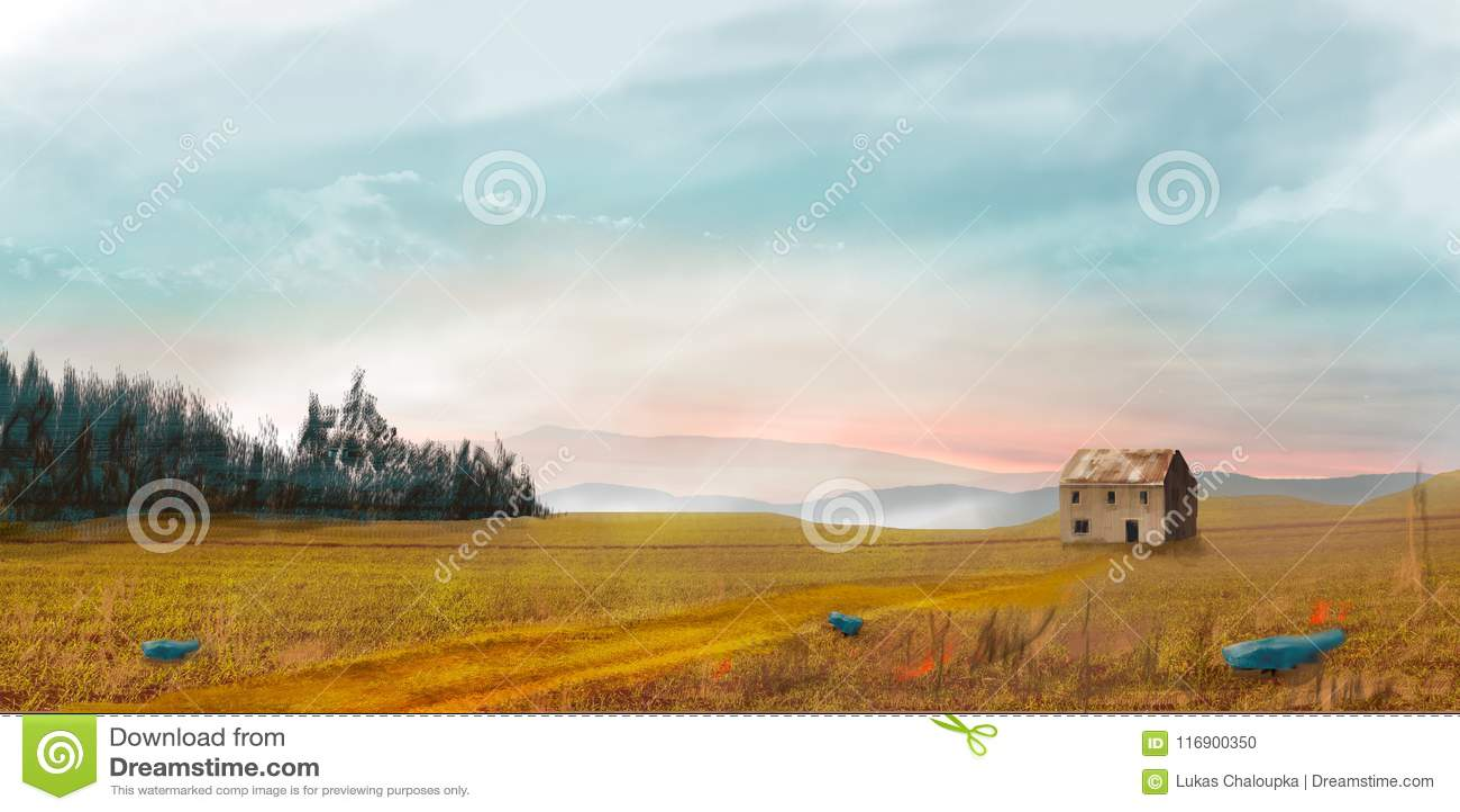 Ландшафт научной фантастики с домом, деревьями и небом, цифровой картиной