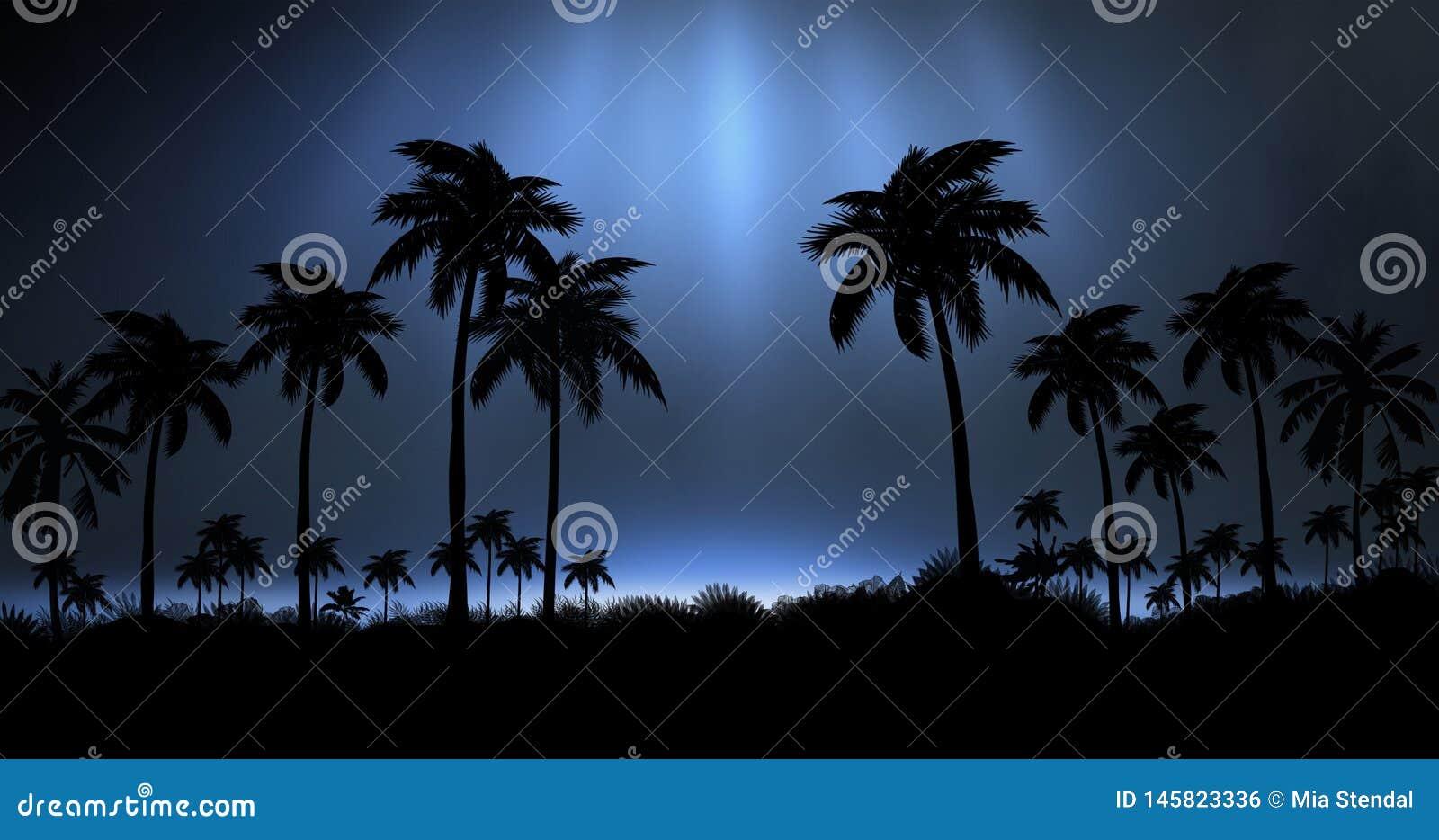 Ландшафт ночи с пальмами, против фона неонового захода солнца, звезды Пальмы кокоса силуэта на пляже на заходе солнца