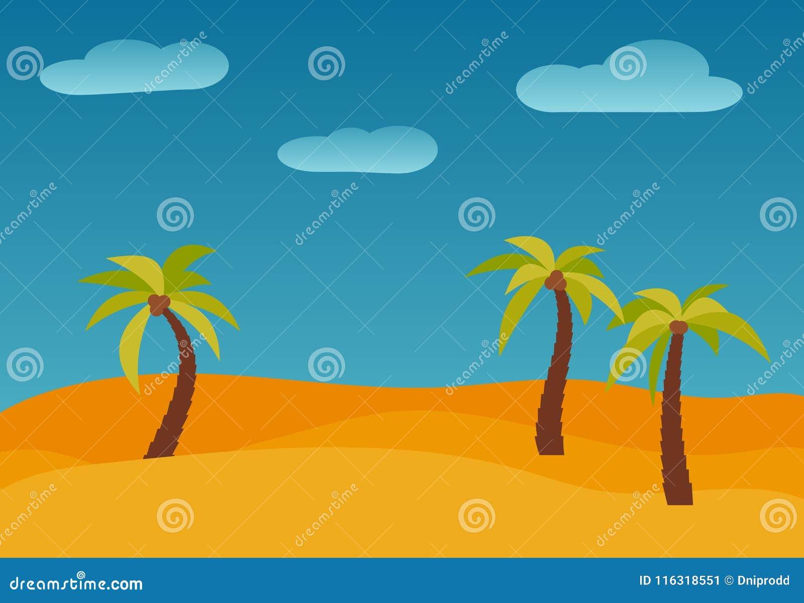 Ландшафт природы шаржа с 3 ладонями в пустыне