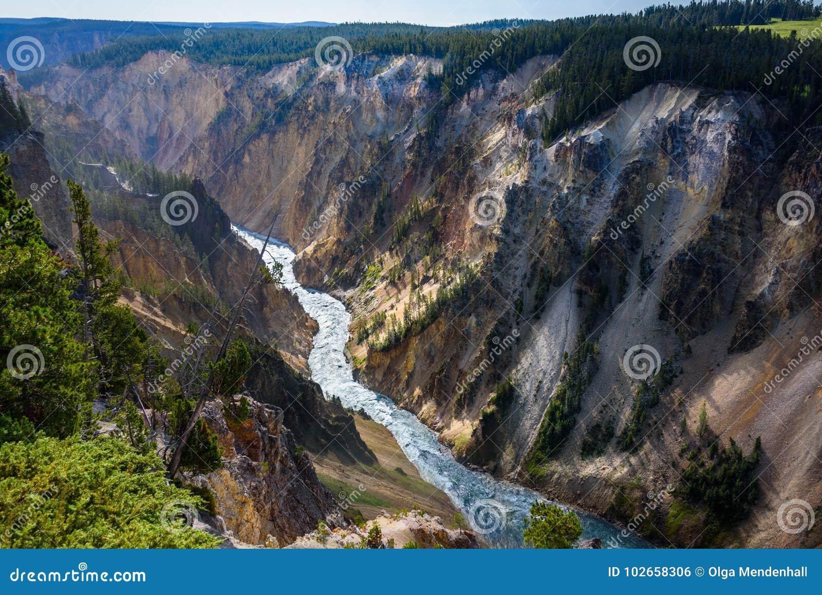 Ландшафт реки водопада горы Йеллоустона, Вайоминг США