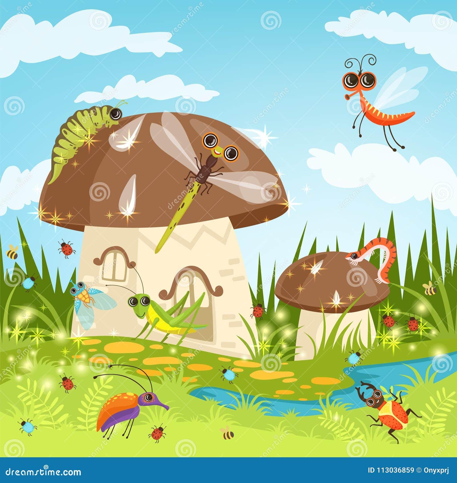 Ландшафт сказки с смешными насекомыми